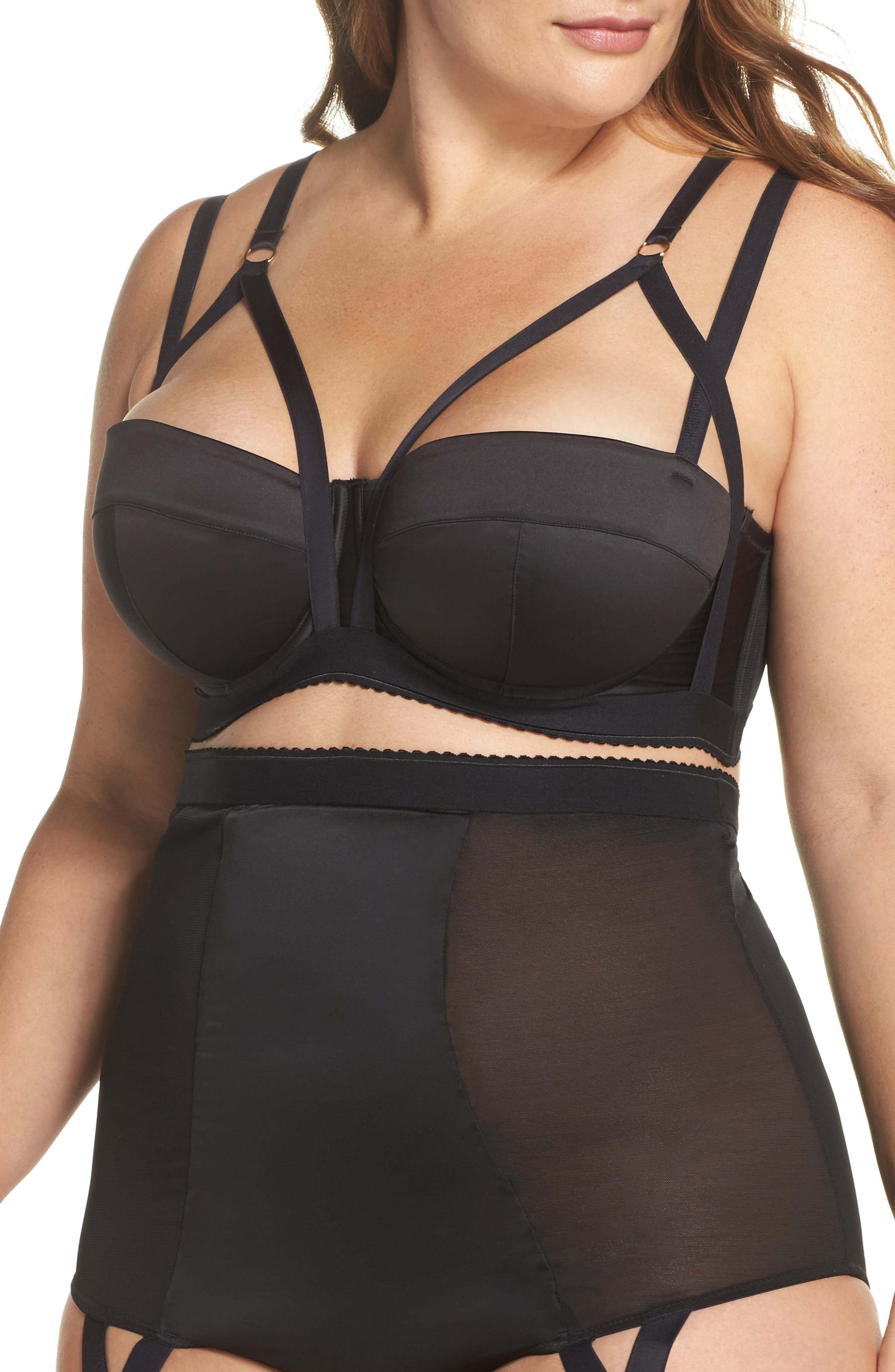 Playful Promies Candace Noir Strappy Underwire Bra (Plus SIze)