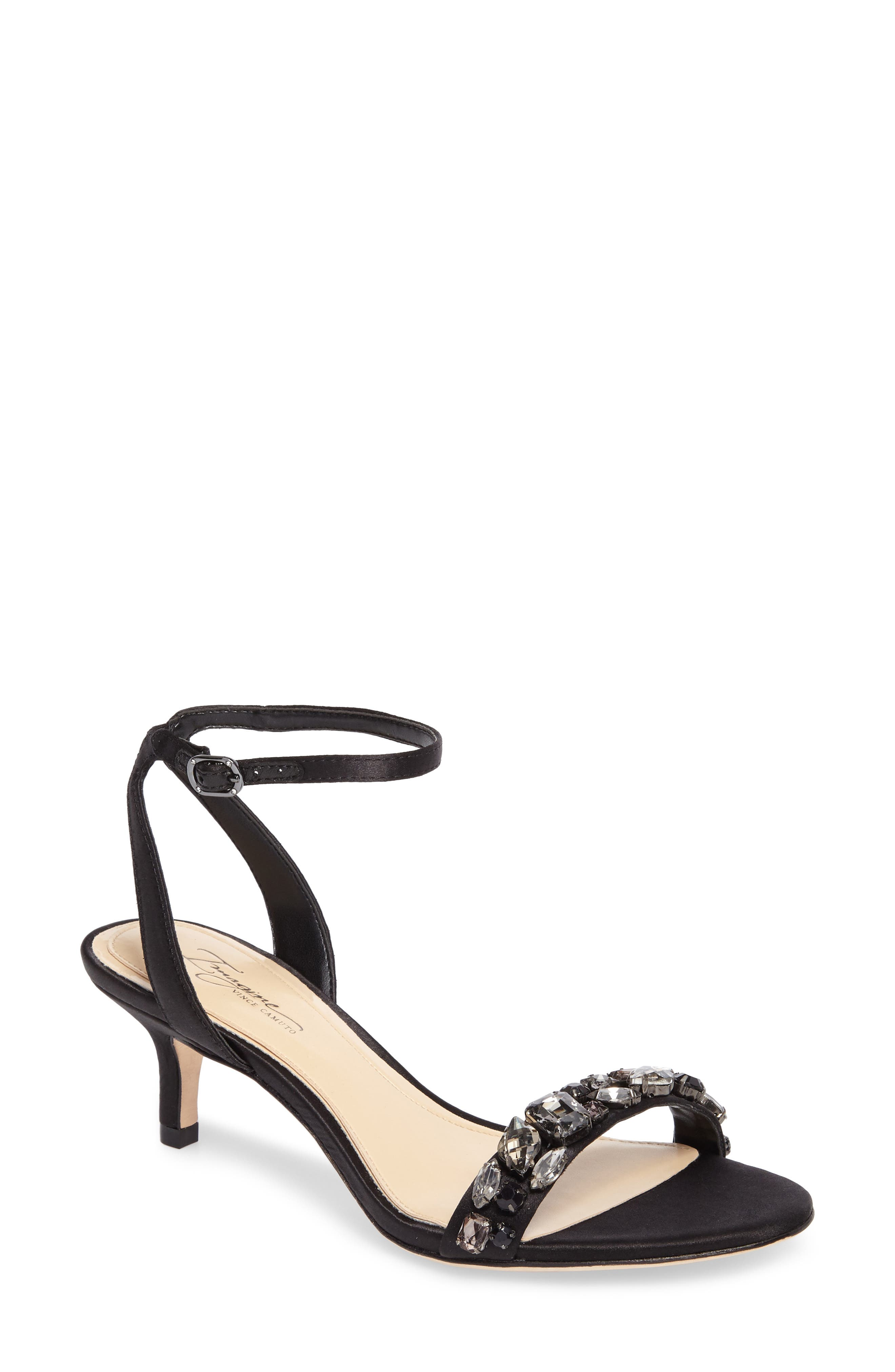 Imagine Vince Camuto Kolo Embellished Kitten Heel Sandal,                             Main thumbnail 1, color,                             Black Satin