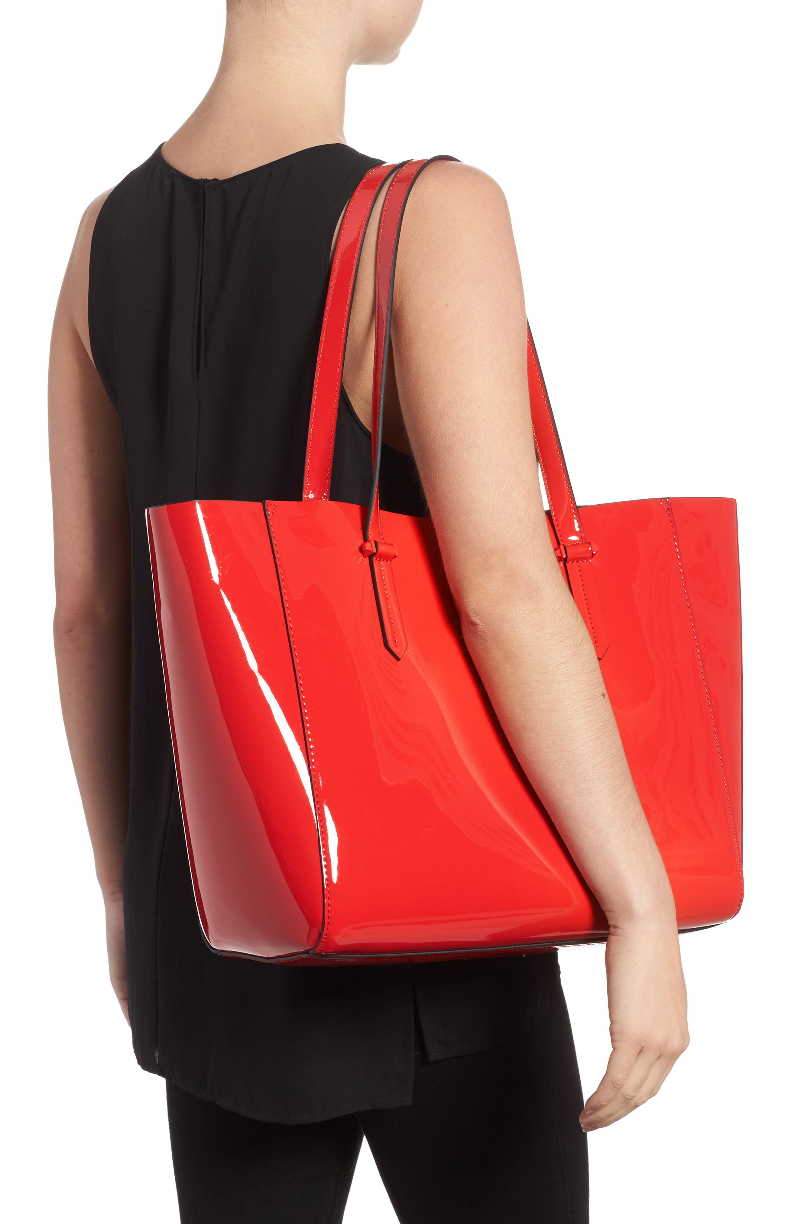 Izzy Faux Leather Tote,                             Alternate thumbnail 2, color,                             Red
