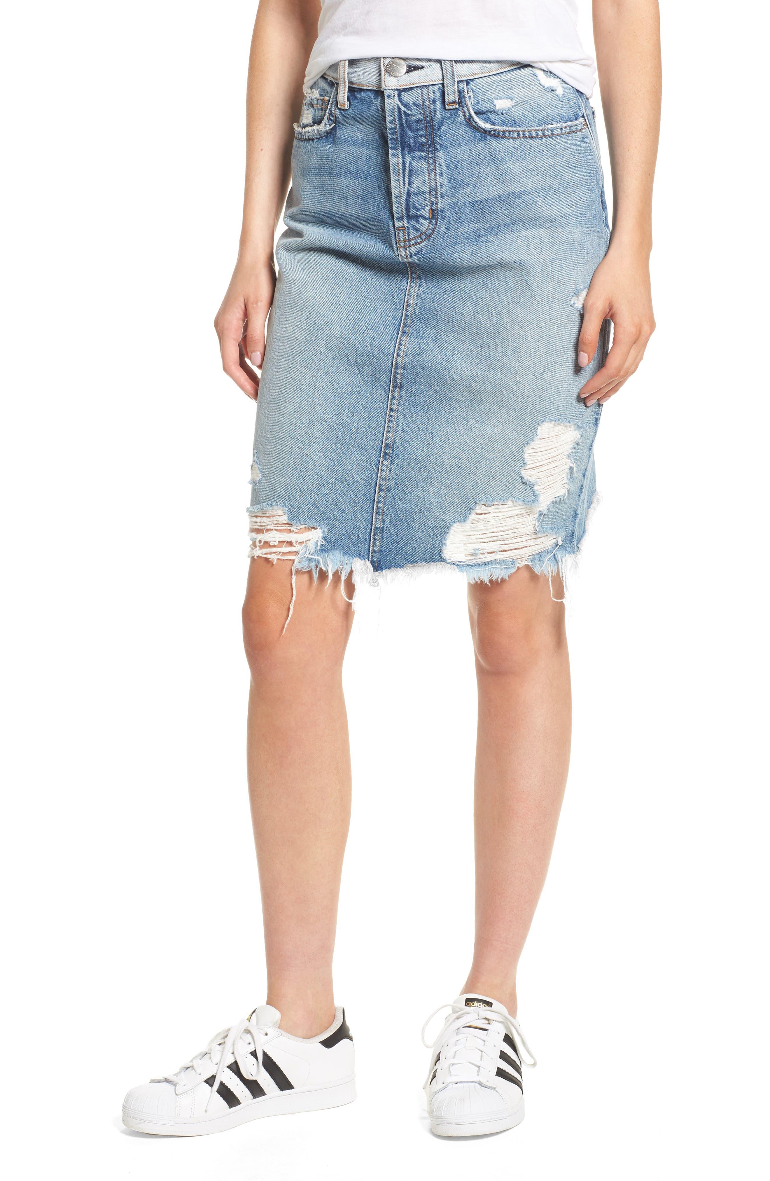 The Ultra High Waist Denim Skirt,                         Main,                         color, Branwen Destroy/ Hazard Hem