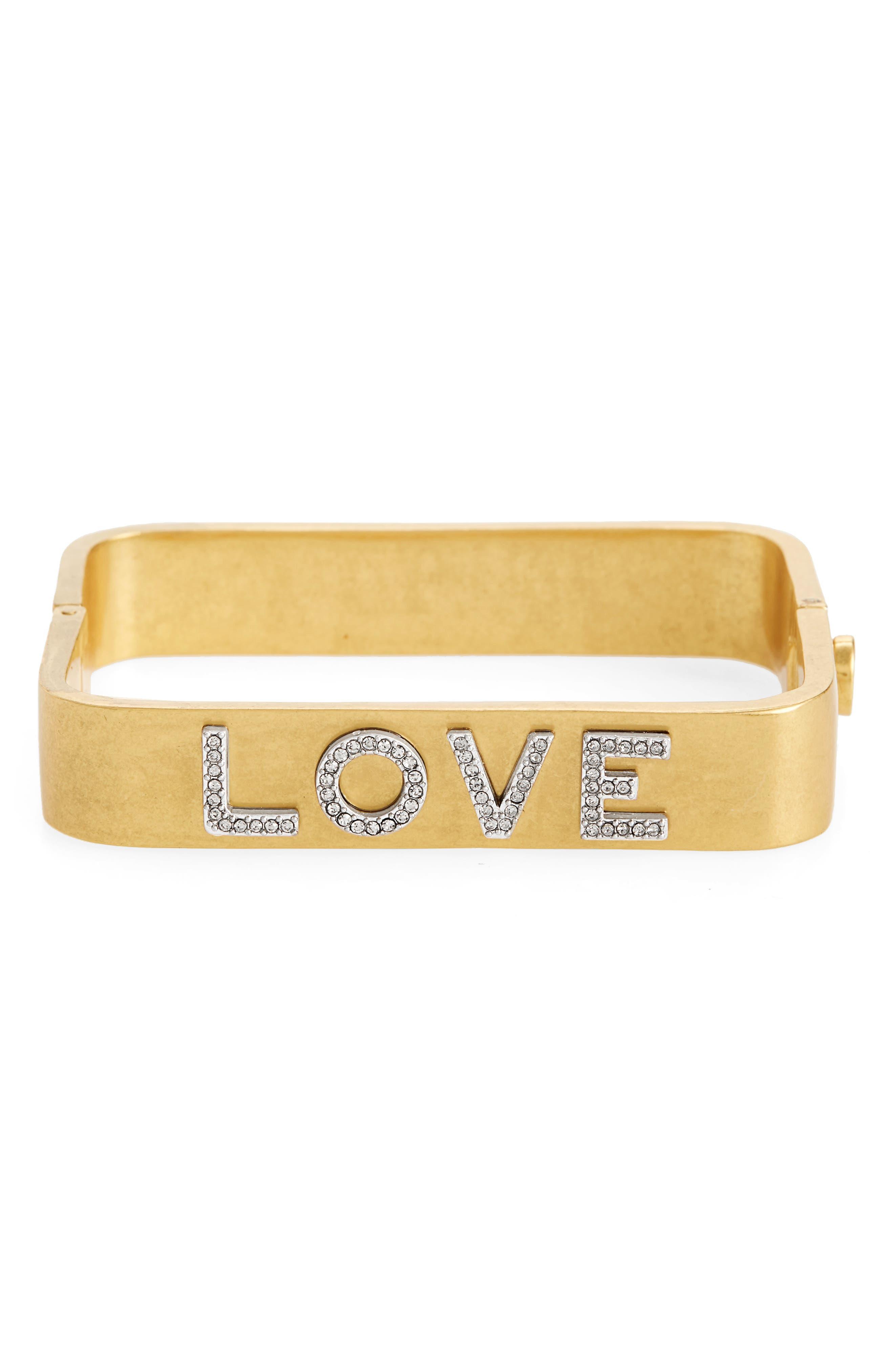 Tory Burch Love Message Rectangular Bracelet
