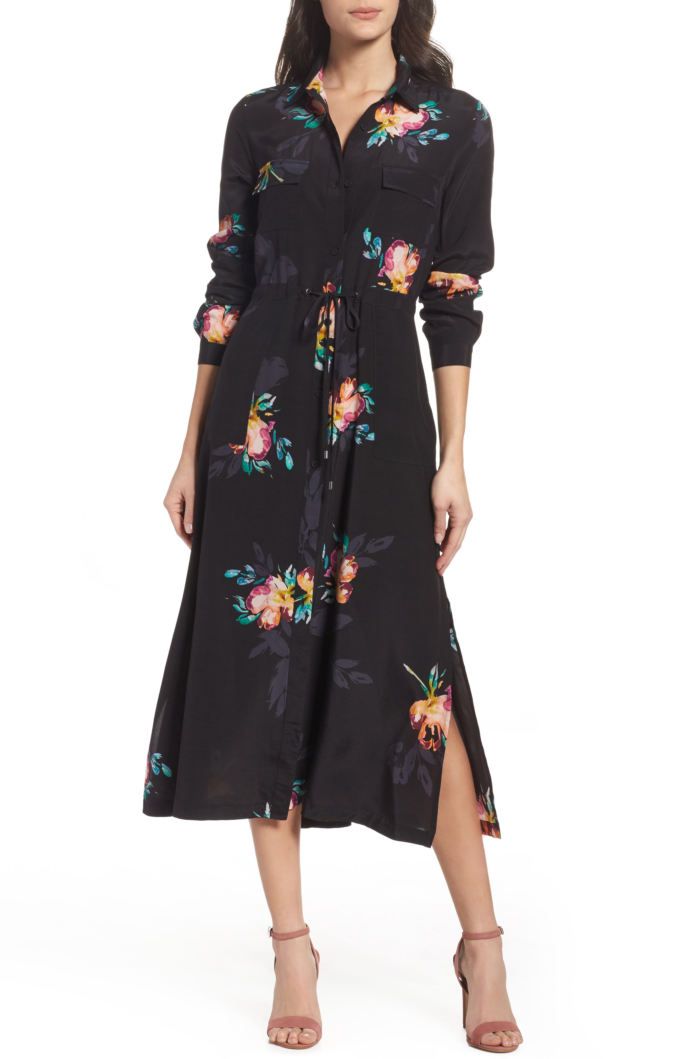 Delphine Midi Shirtdress,                             Main thumbnail 1, color,                             Black Multi