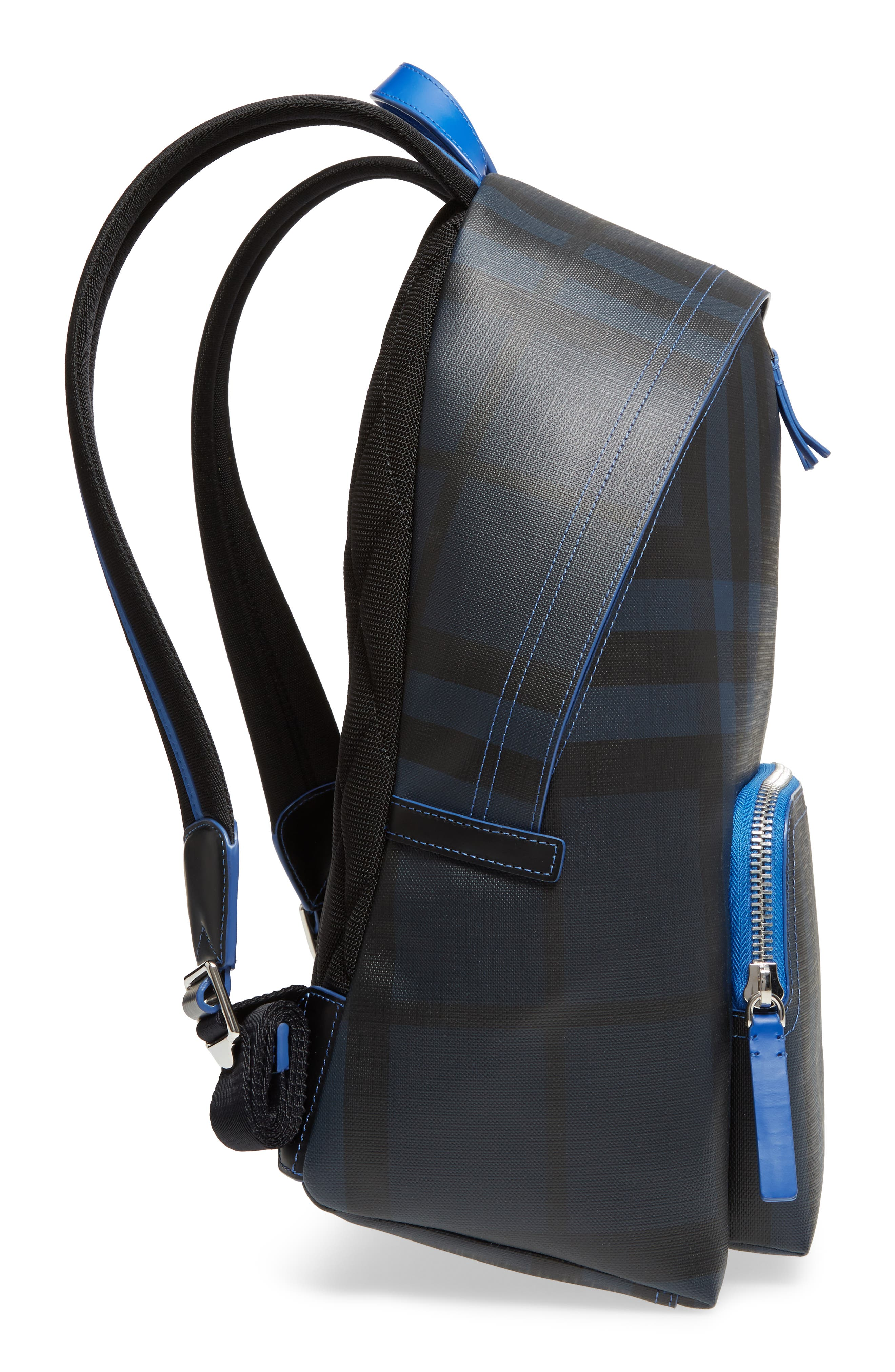 Check Faux Leather Backpack,                             Alternate thumbnail 5, color,                             Navy/ Blue