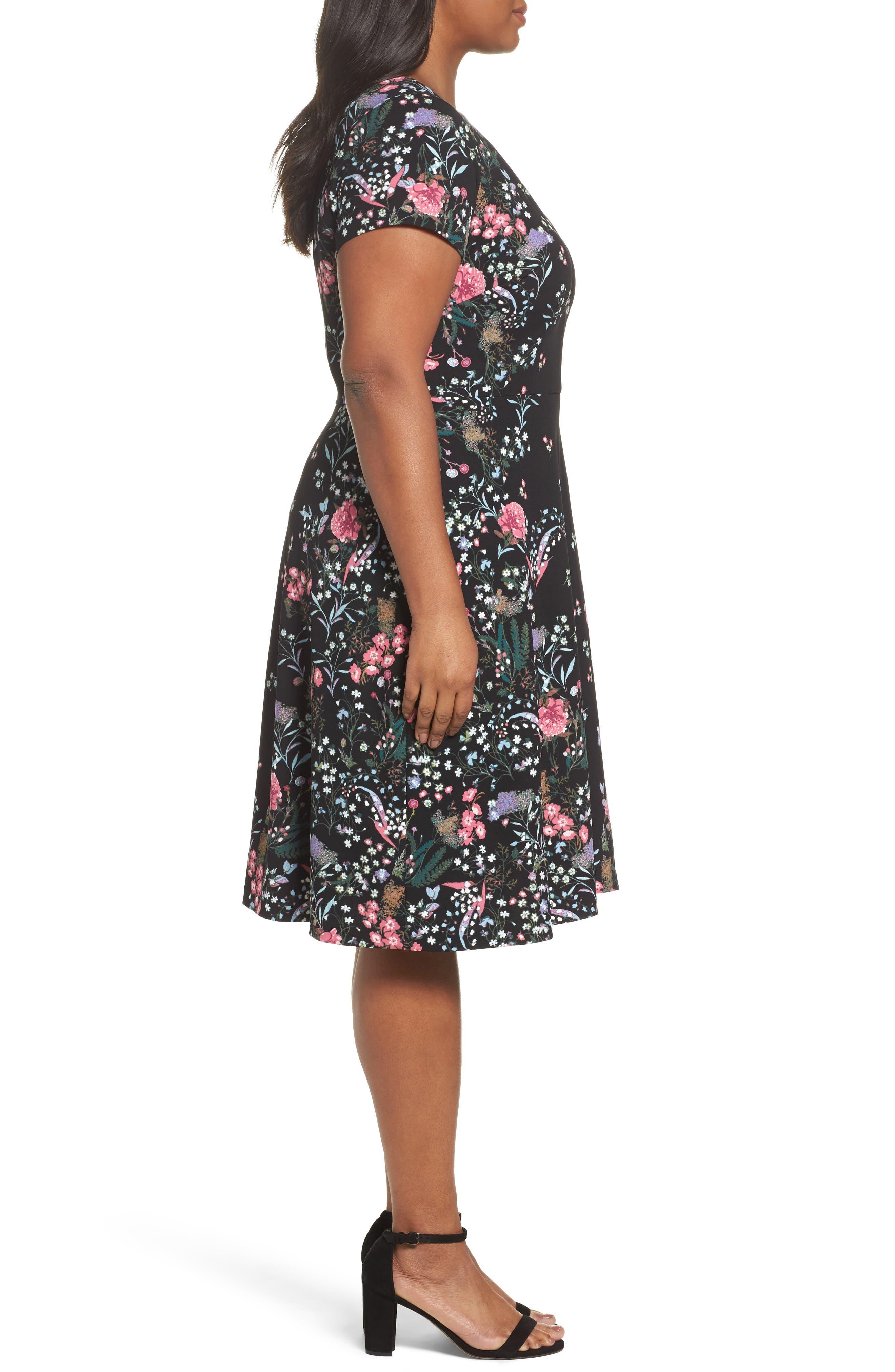 Print Scuba Knit Fit & Flare Dress,                             Alternate thumbnail 3, color,                             Black Multi