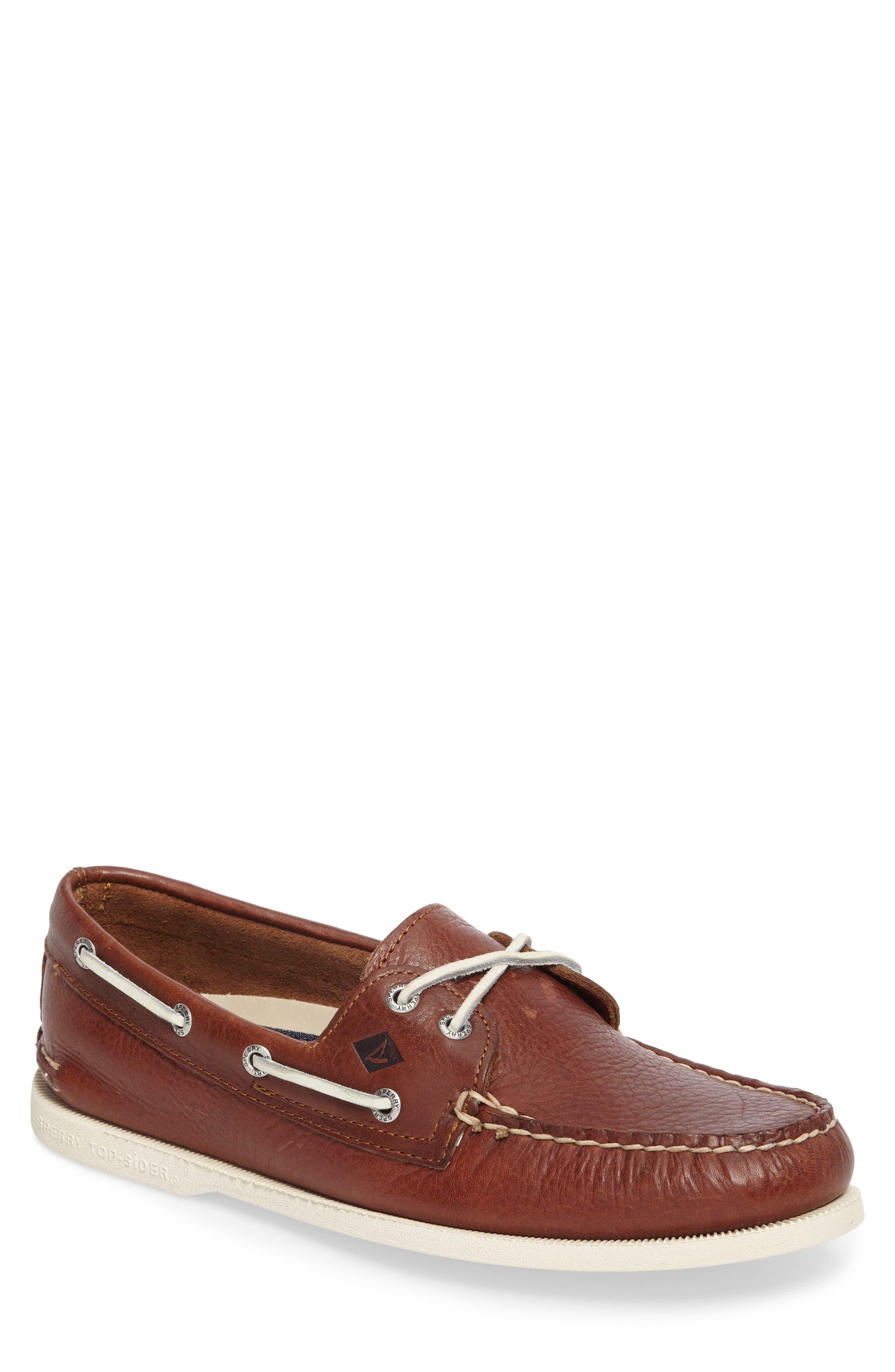 Authentic Original Boat Shoe,                         Main,                         color, Brown Leather