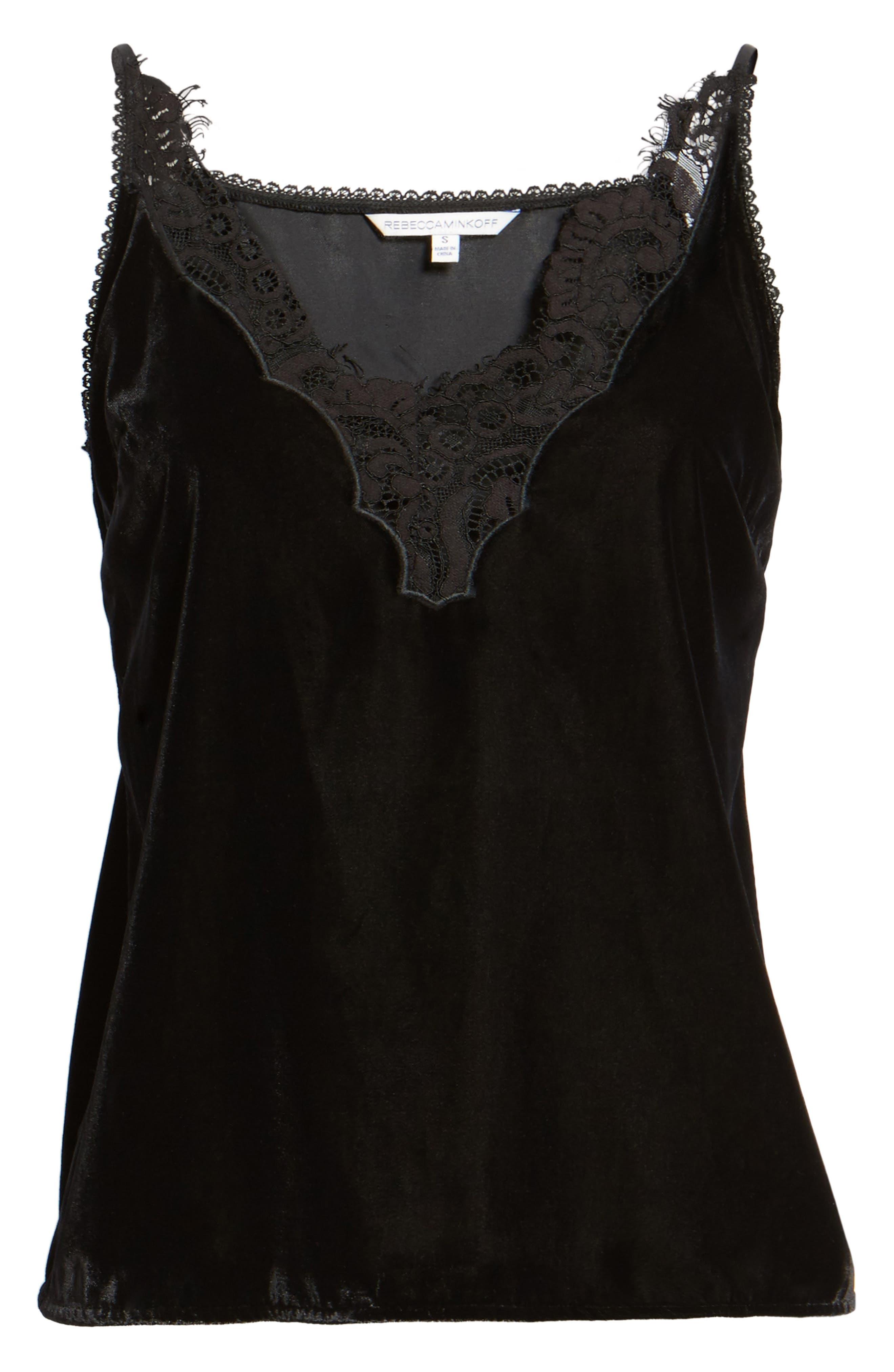 Henni Lace & Velvet Camisole,                             Alternate thumbnail 7, color,                             Black