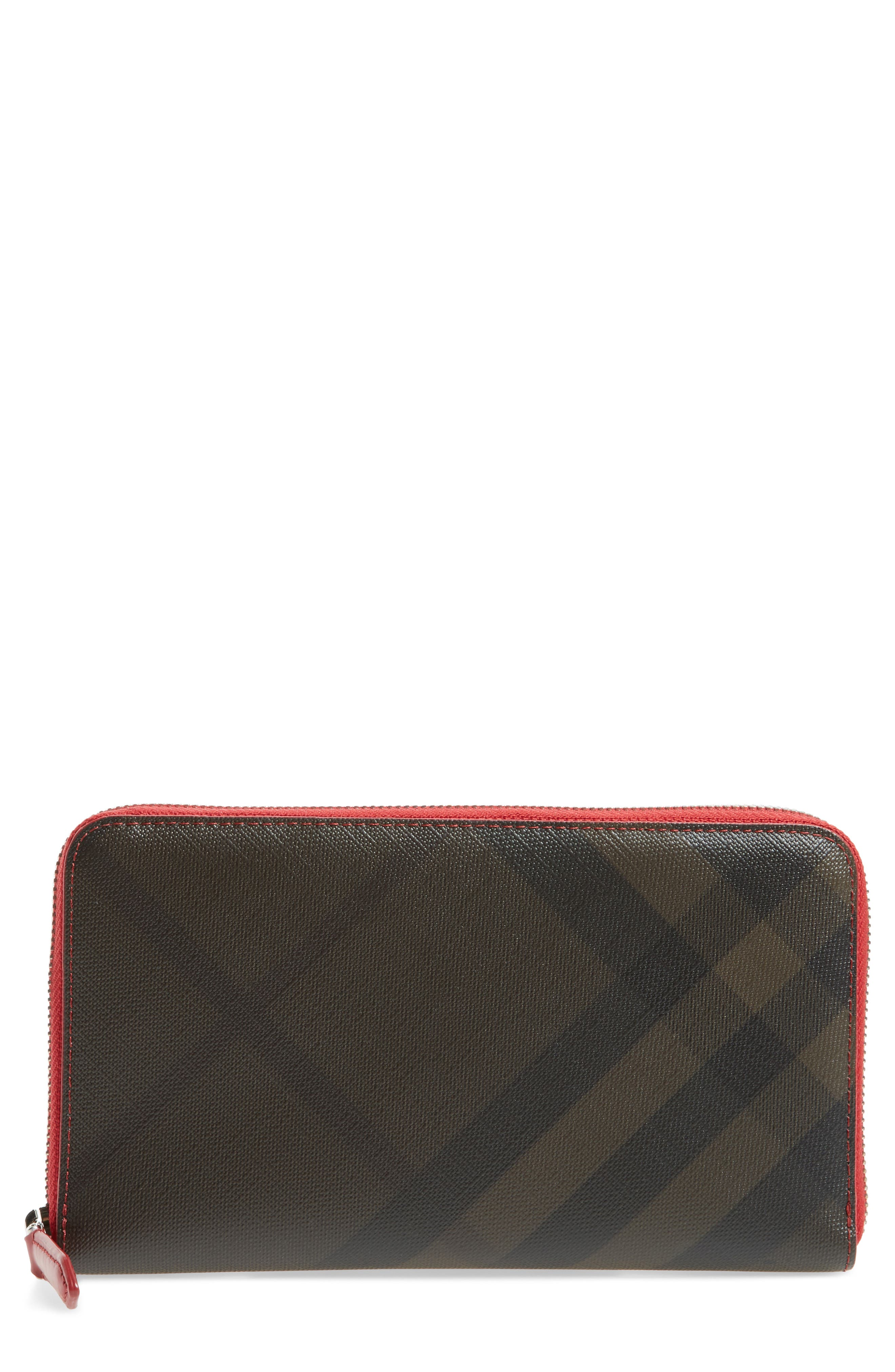 Main Image - Burberry Check Zip Wallet