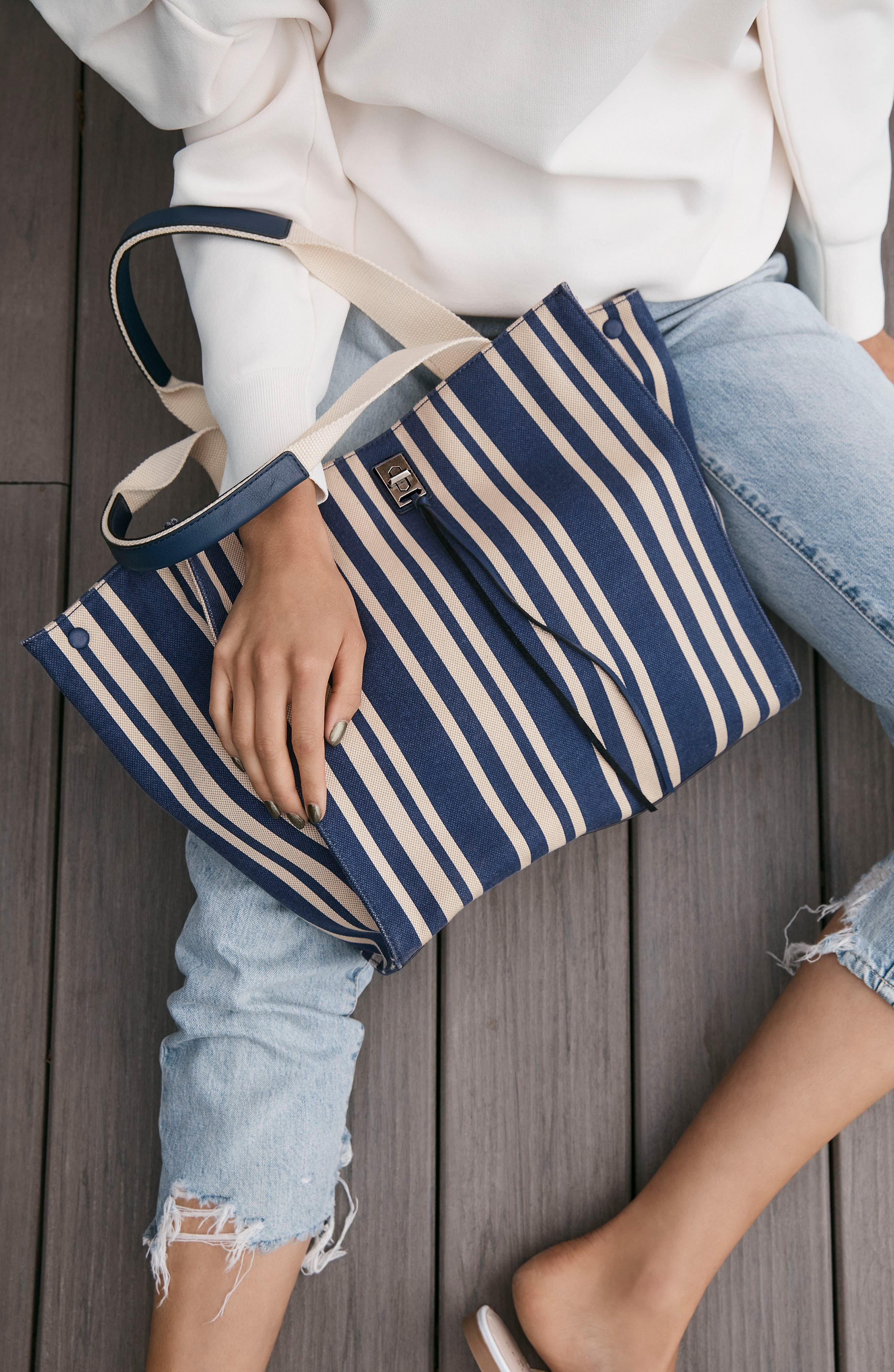 Darren Stripe Canvas Tote,                             Alternate thumbnail 2, color,