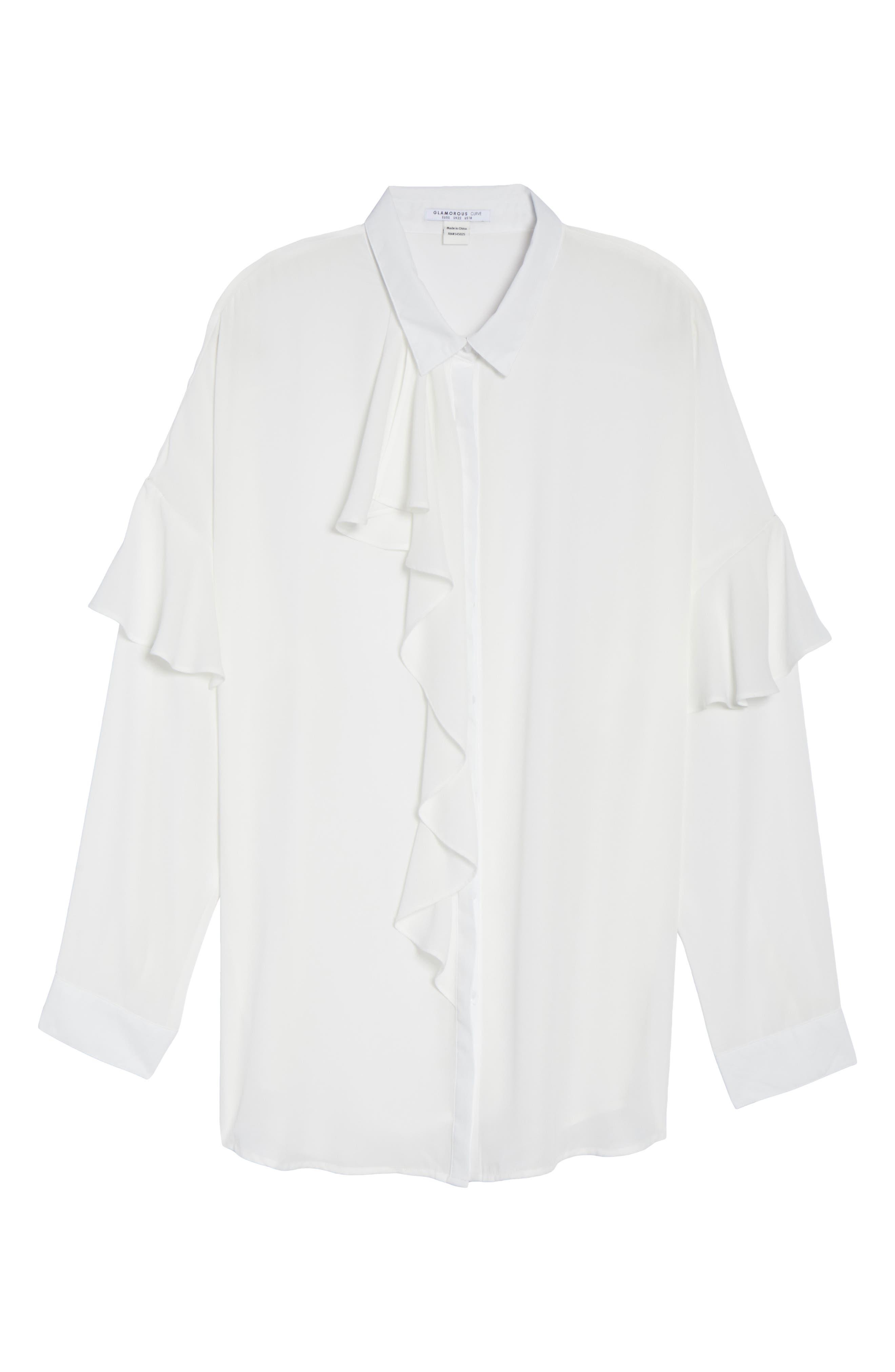 Asymmetrical Ruffle Blouse,                             Alternate thumbnail 6, color,                             White