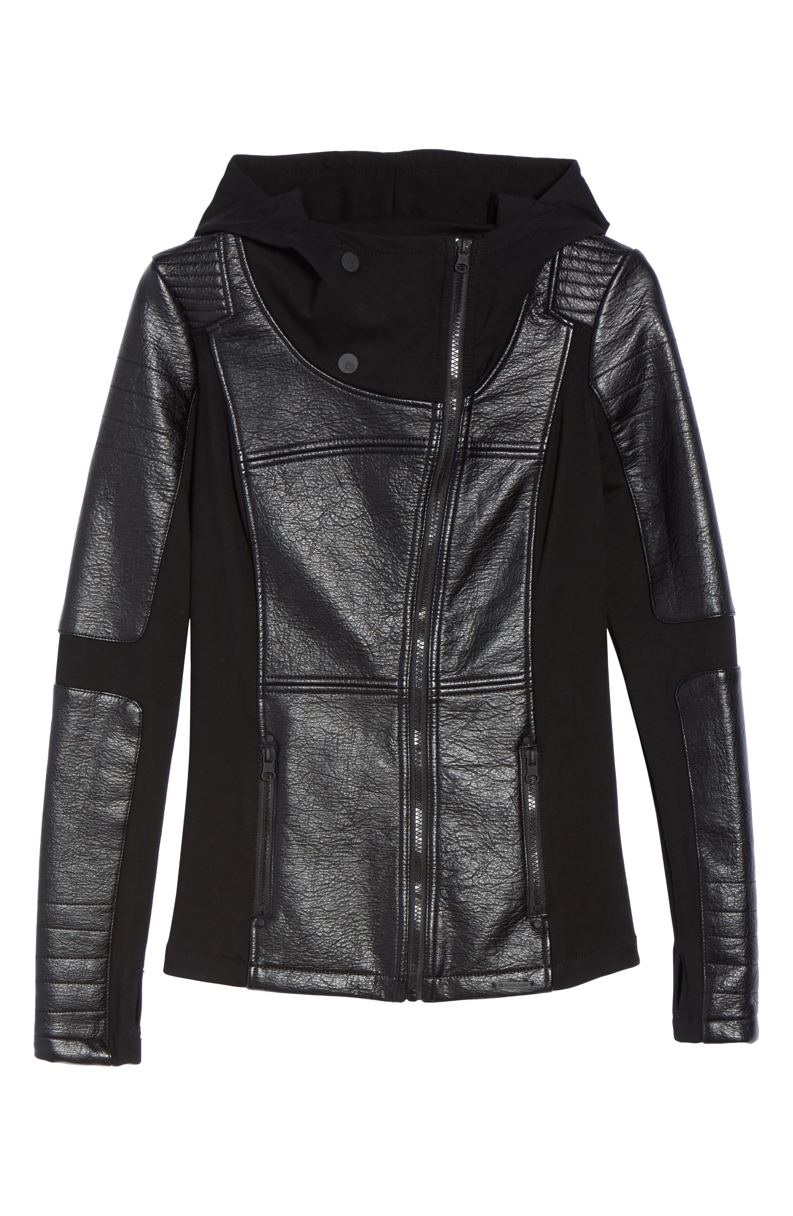 Faux Leather Hooded Moto Jacket,                             Alternate thumbnail 7, color,                             Black