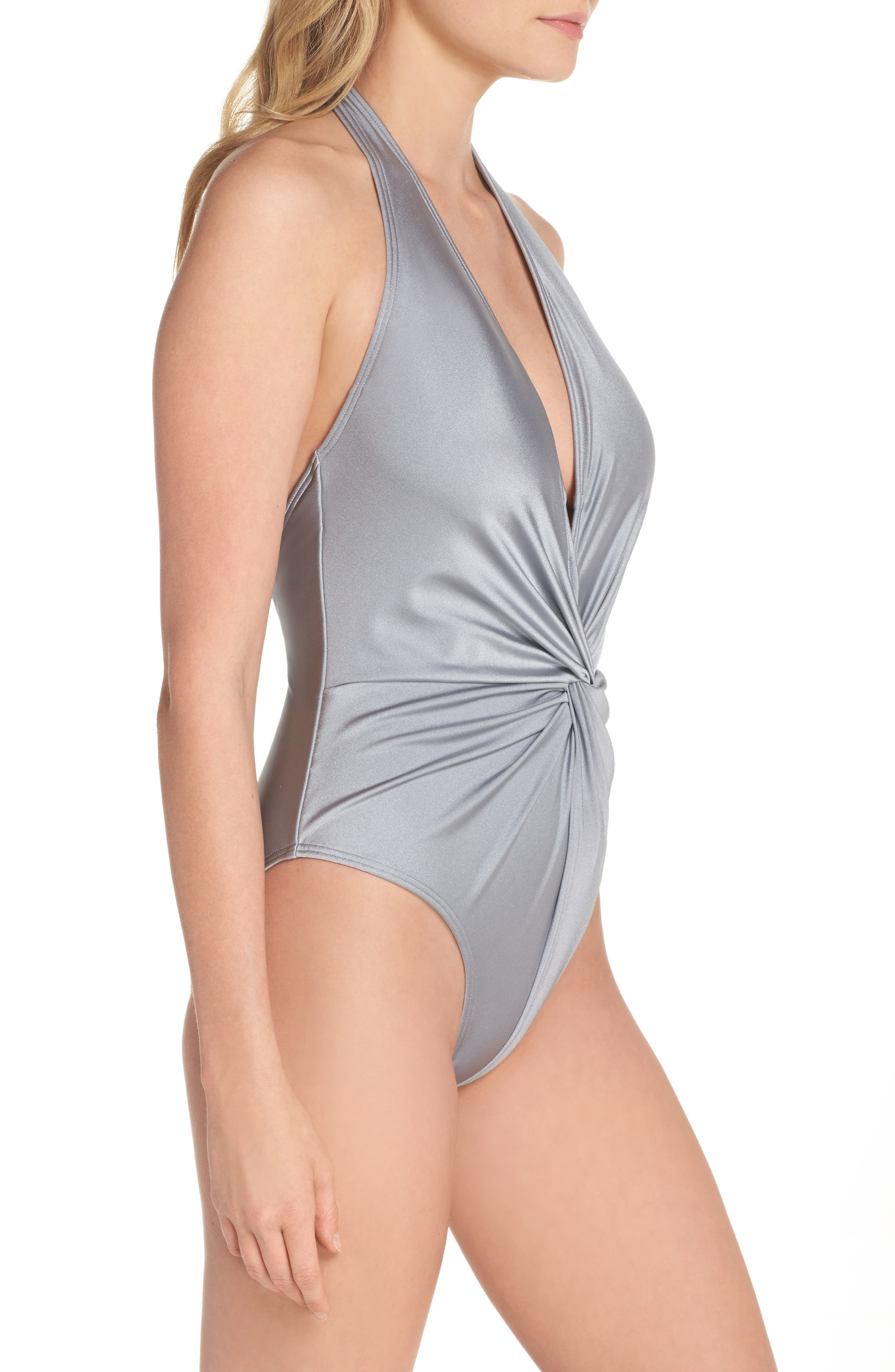 Low Knot One-Piece Swimsuit,                             Alternate thumbnail 3, color,                             Shimmer Grey