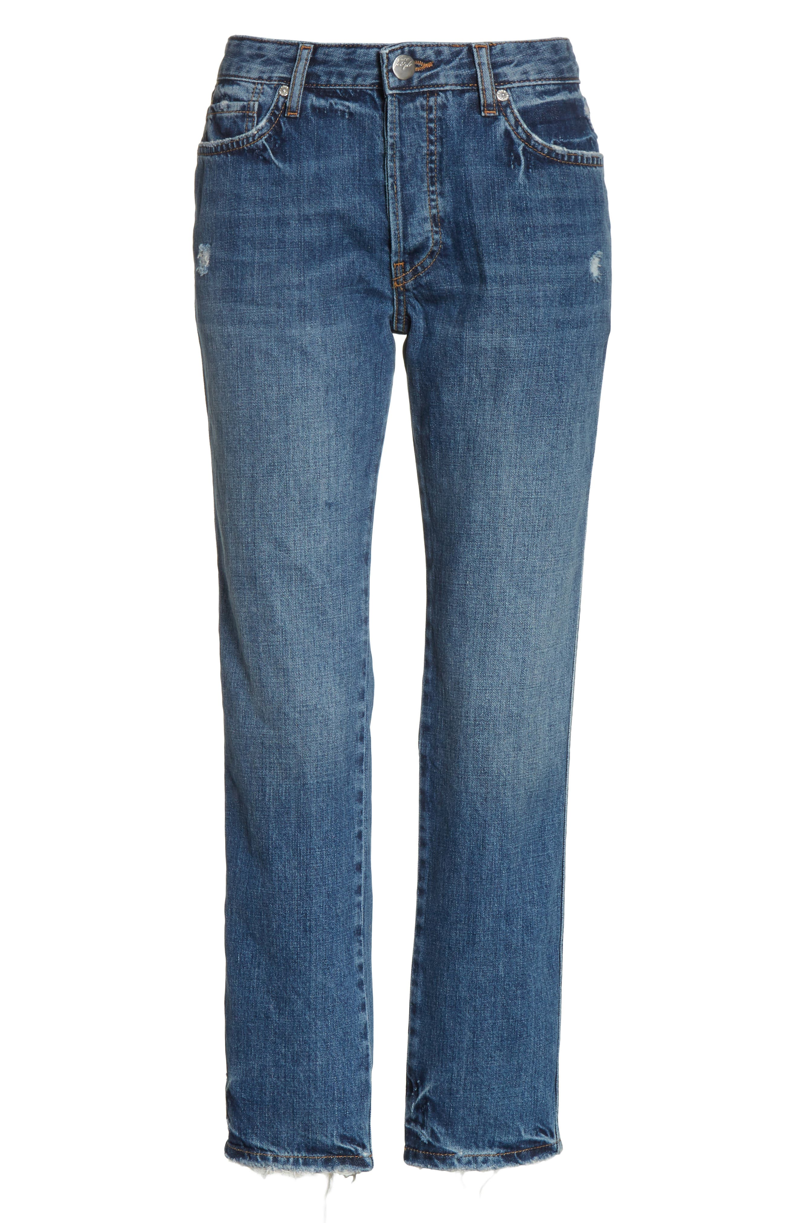 Slim Boyfriend Jeans,                             Alternate thumbnail 6, color,                             Blue
