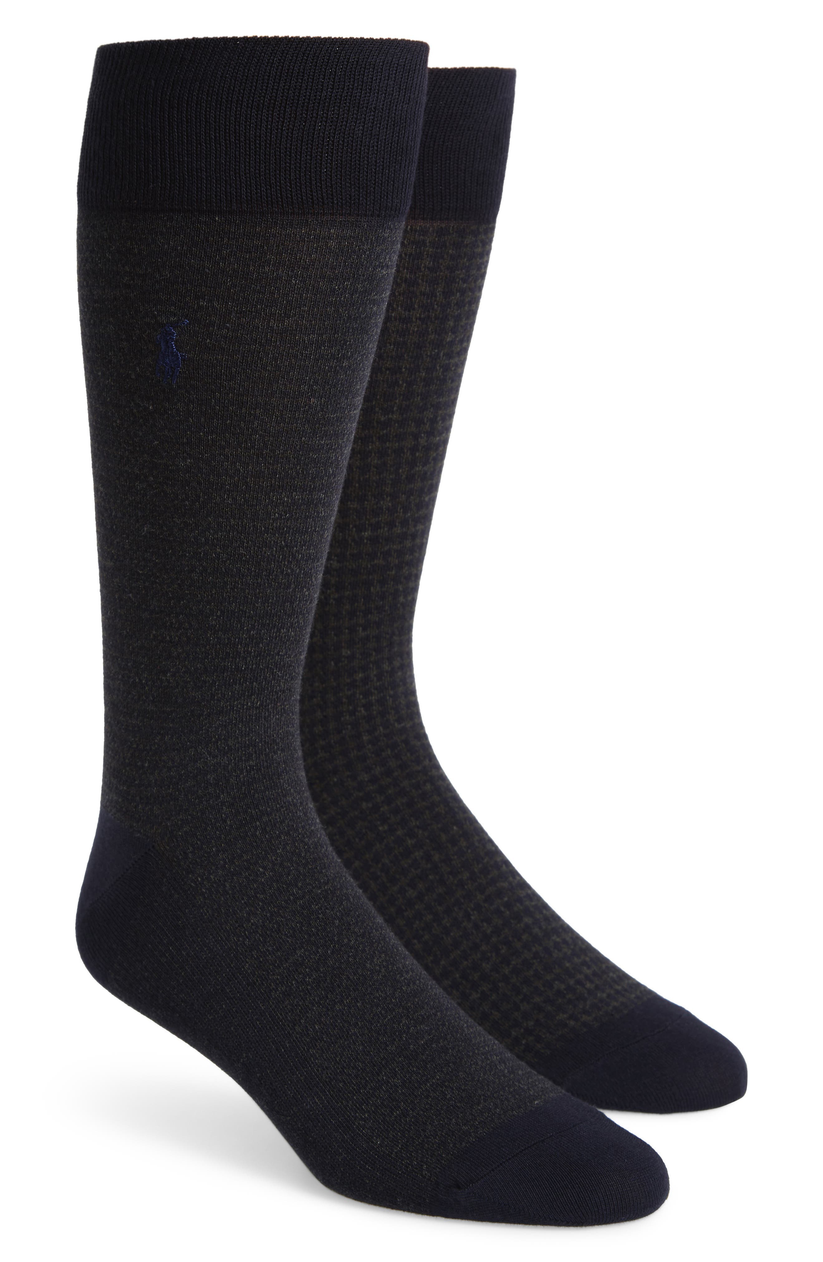 2-Pack Assorted Houndstooth Dress Socks,                             Main thumbnail 1, color,                             Navy