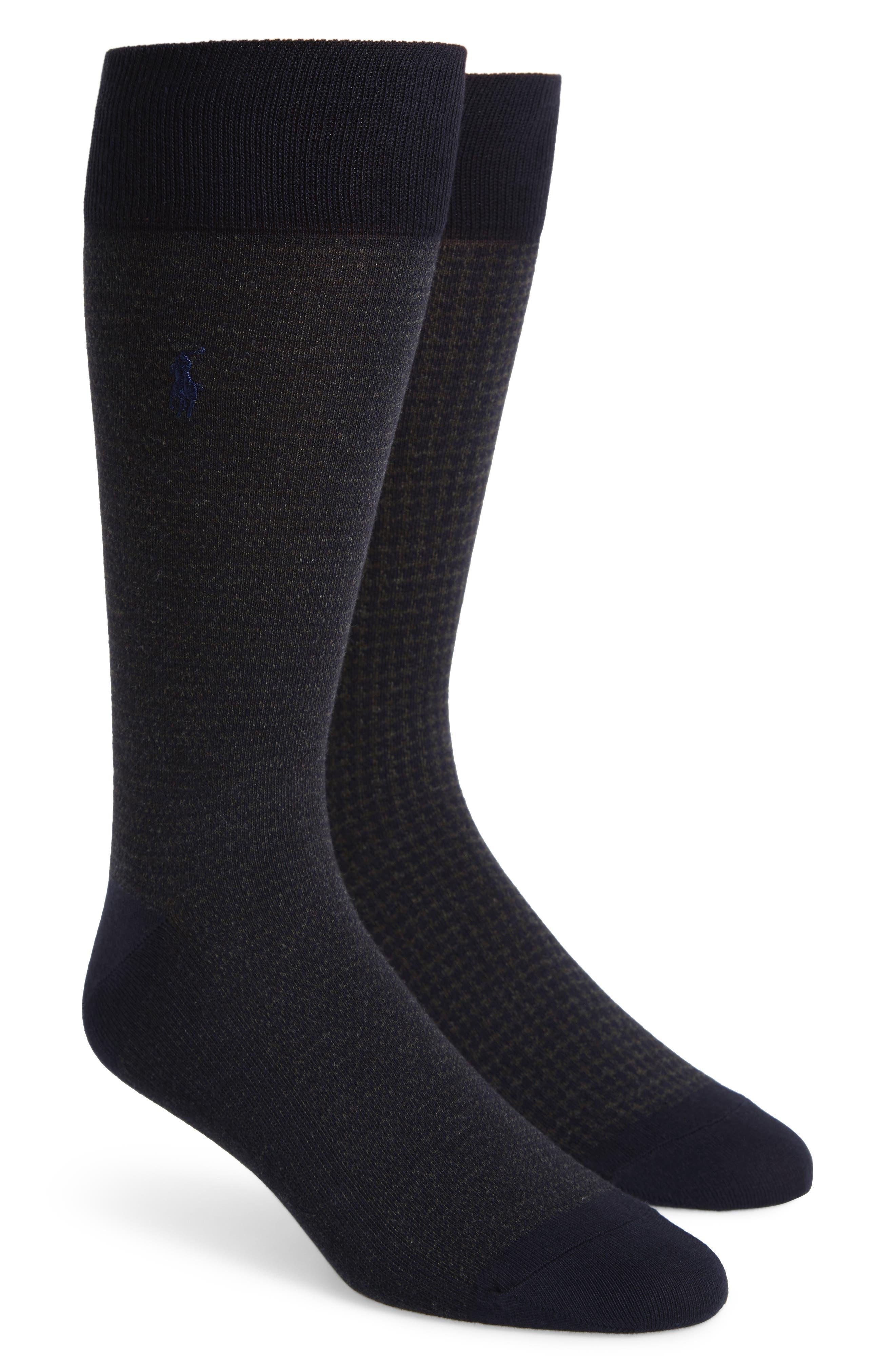2-Pack Assorted Houndstooth Dress Socks,                         Main,                         color, Navy