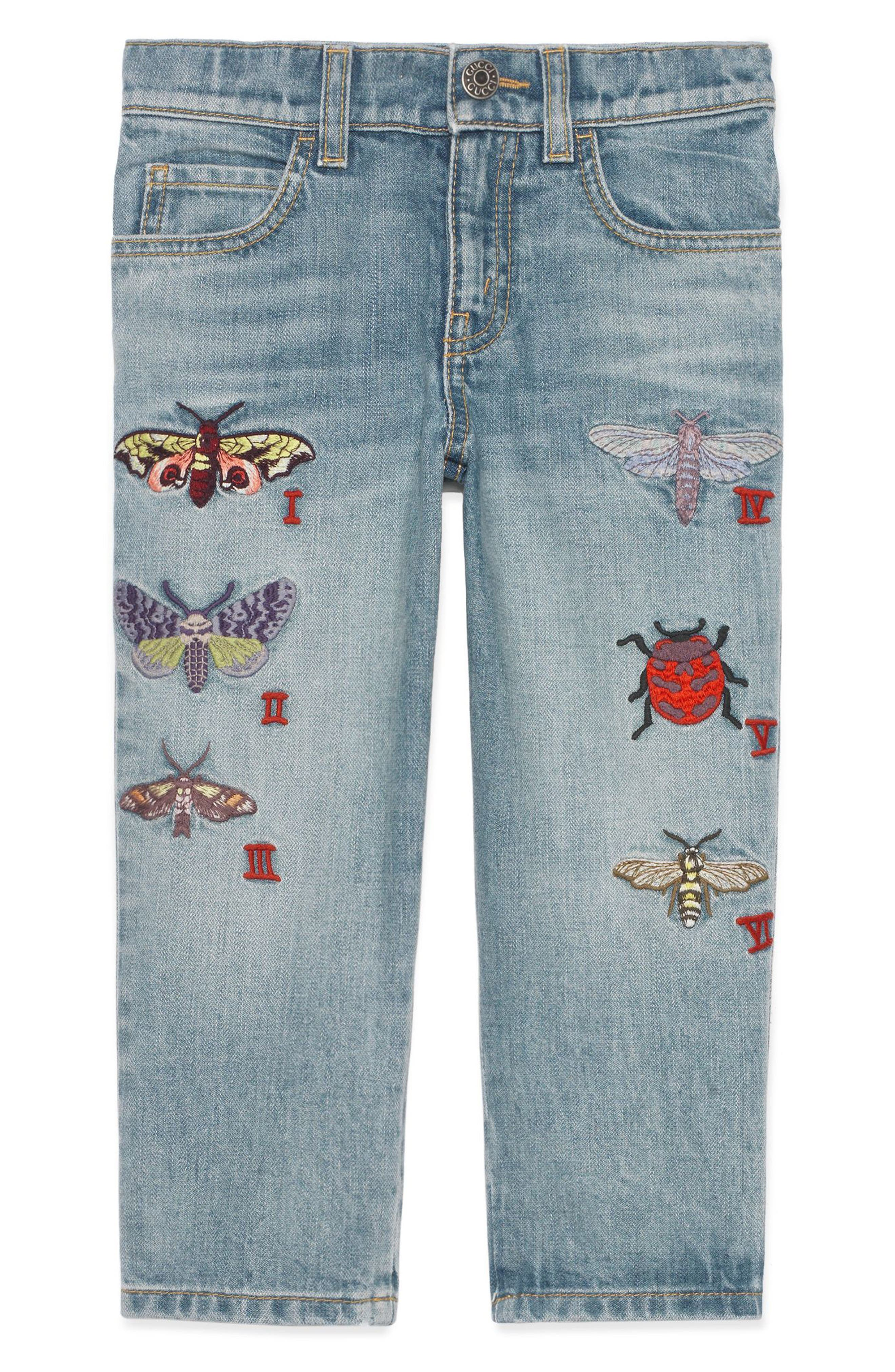 Alternate Image 1 Selected - Gucci Insect Appliqué Jeans (Little Girls & Big Girls)