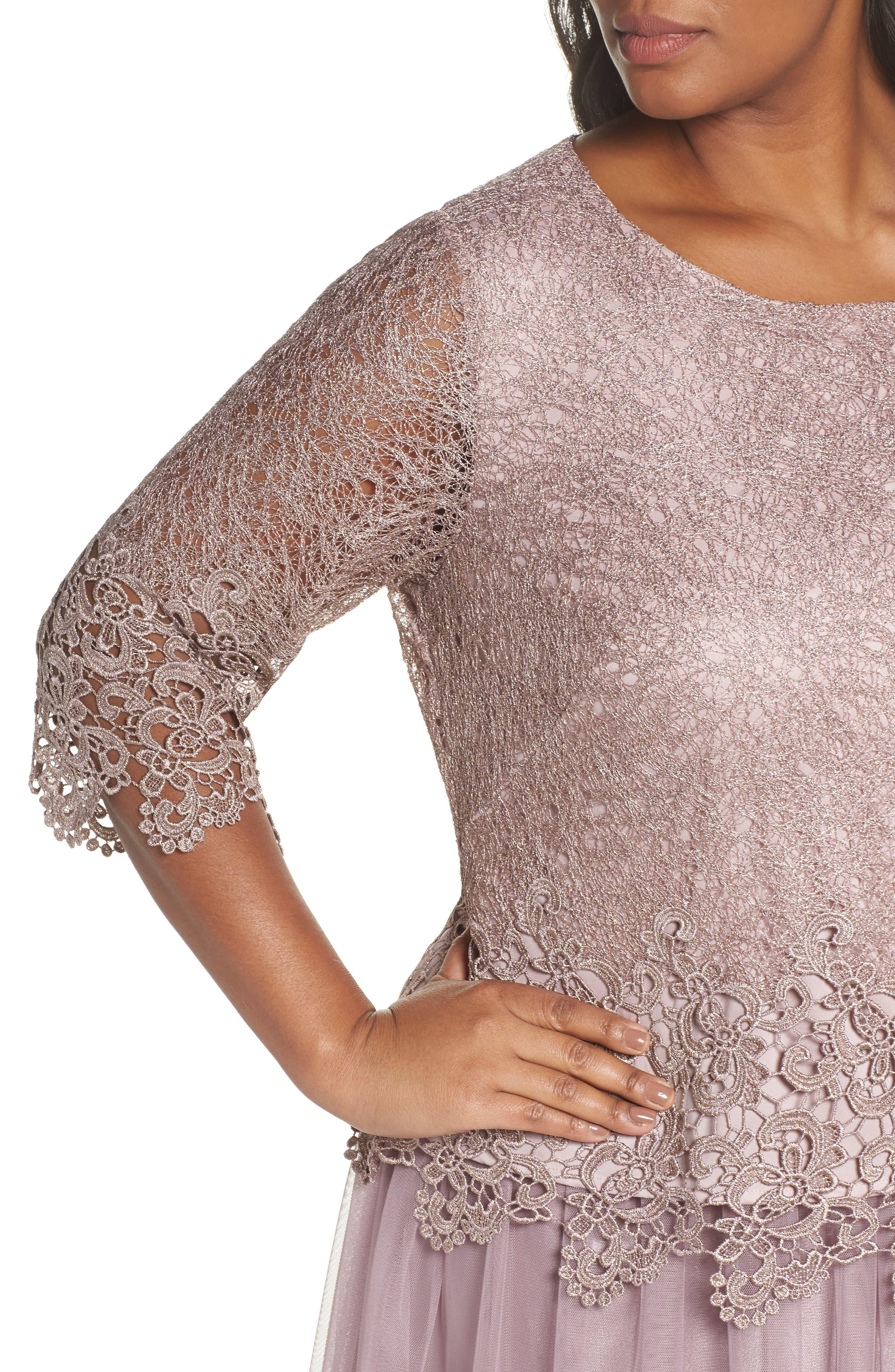 Embellished Mock Two-Piece Tea Length Dress,                             Alternate thumbnail 4, color,                             Rose