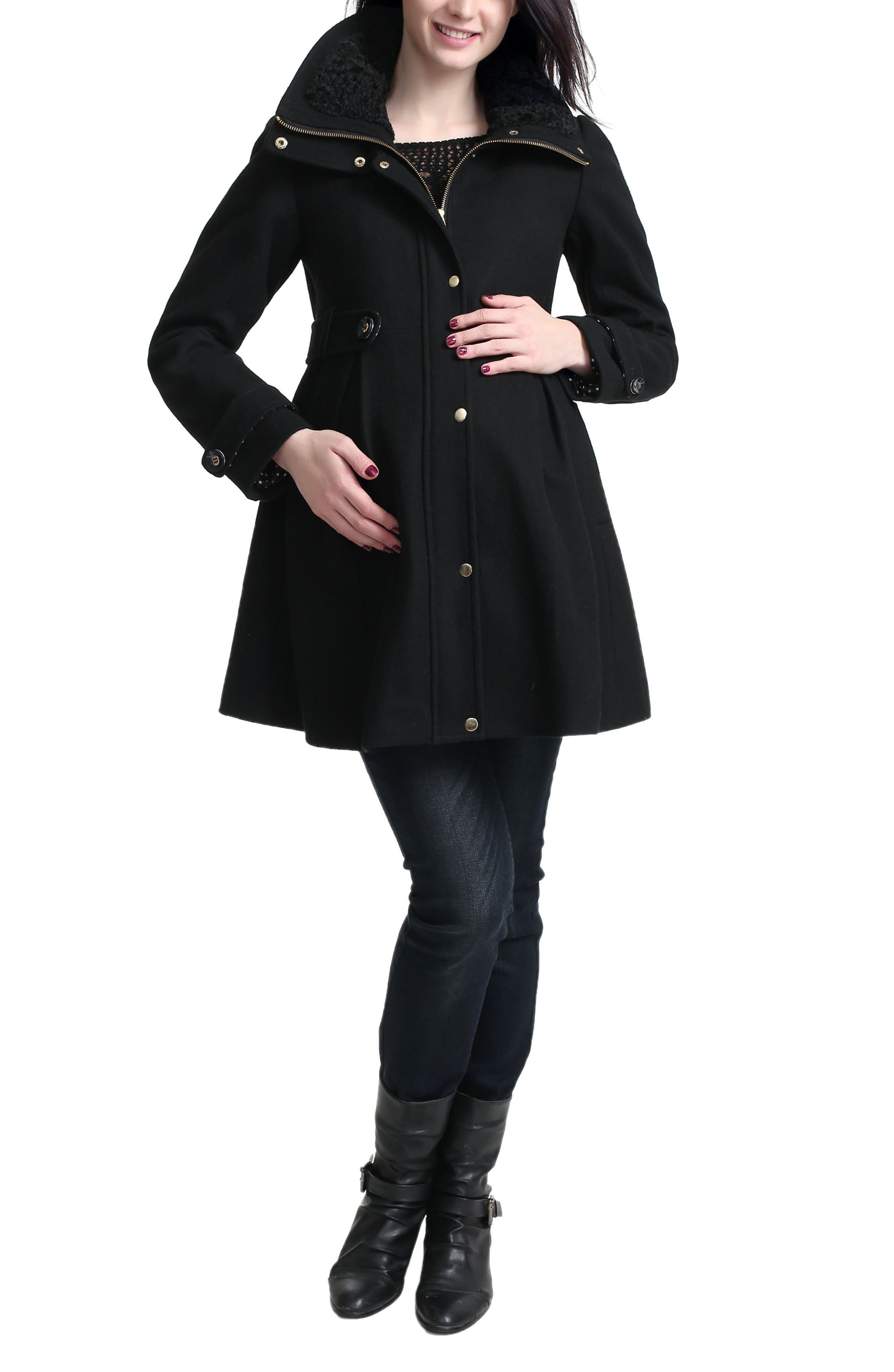 Olivia Wool Blend Maternity Coat,                             Main thumbnail 1, color,                             Black