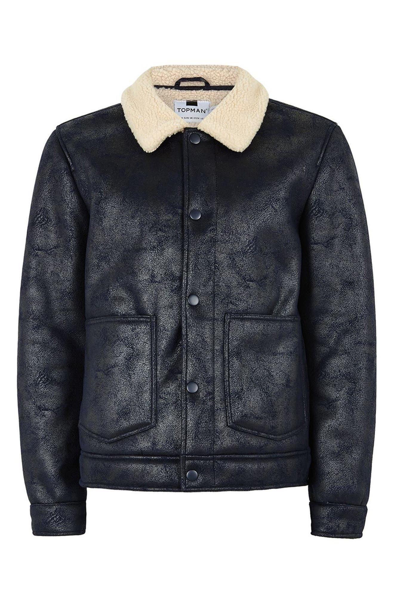 Faux Shearling Jacket,                             Alternate thumbnail 4, color,                             Dark Blue