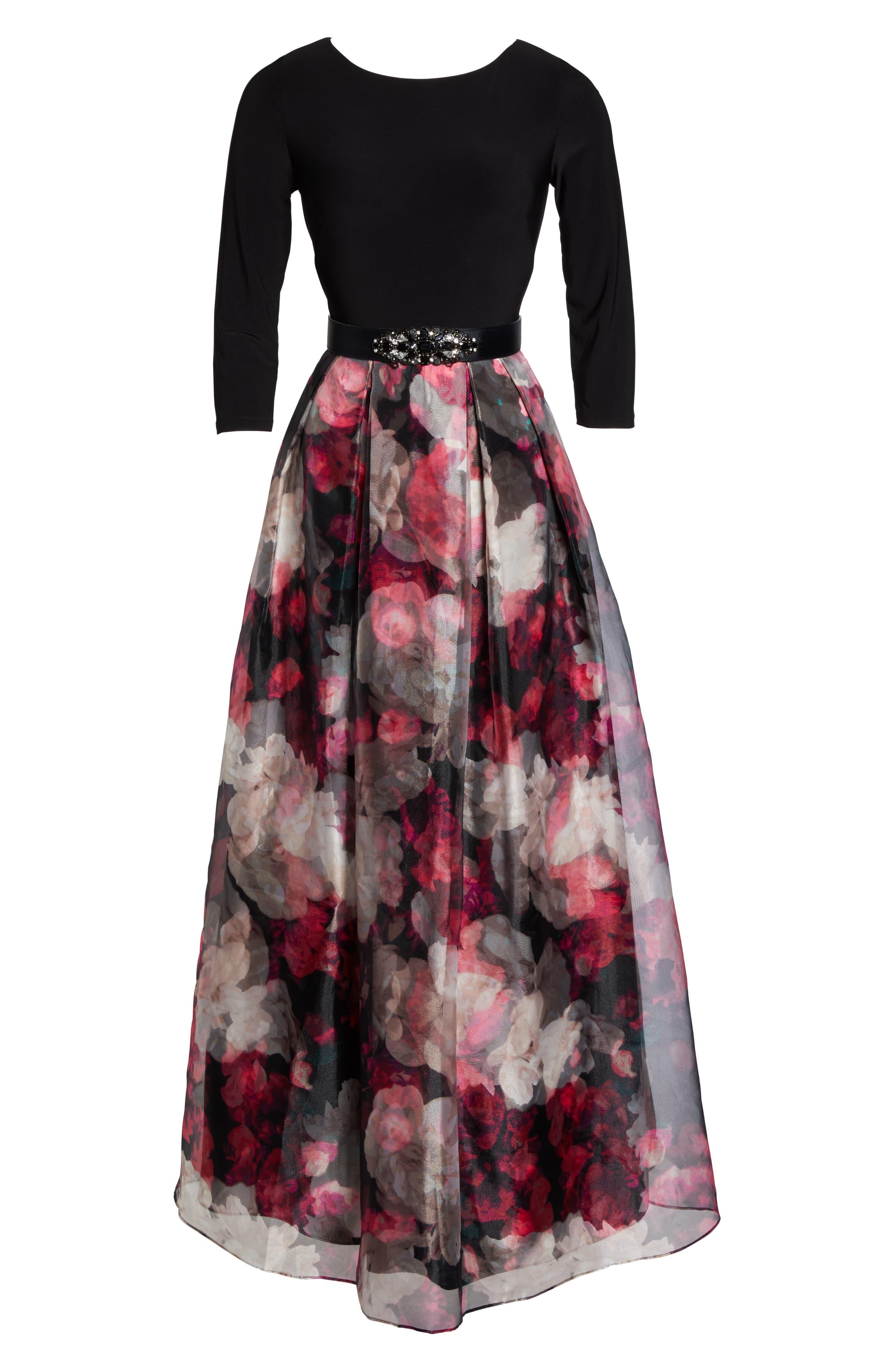 Embellished Knit & Organza Ballgown,                             Alternate thumbnail 6, color,                             Black