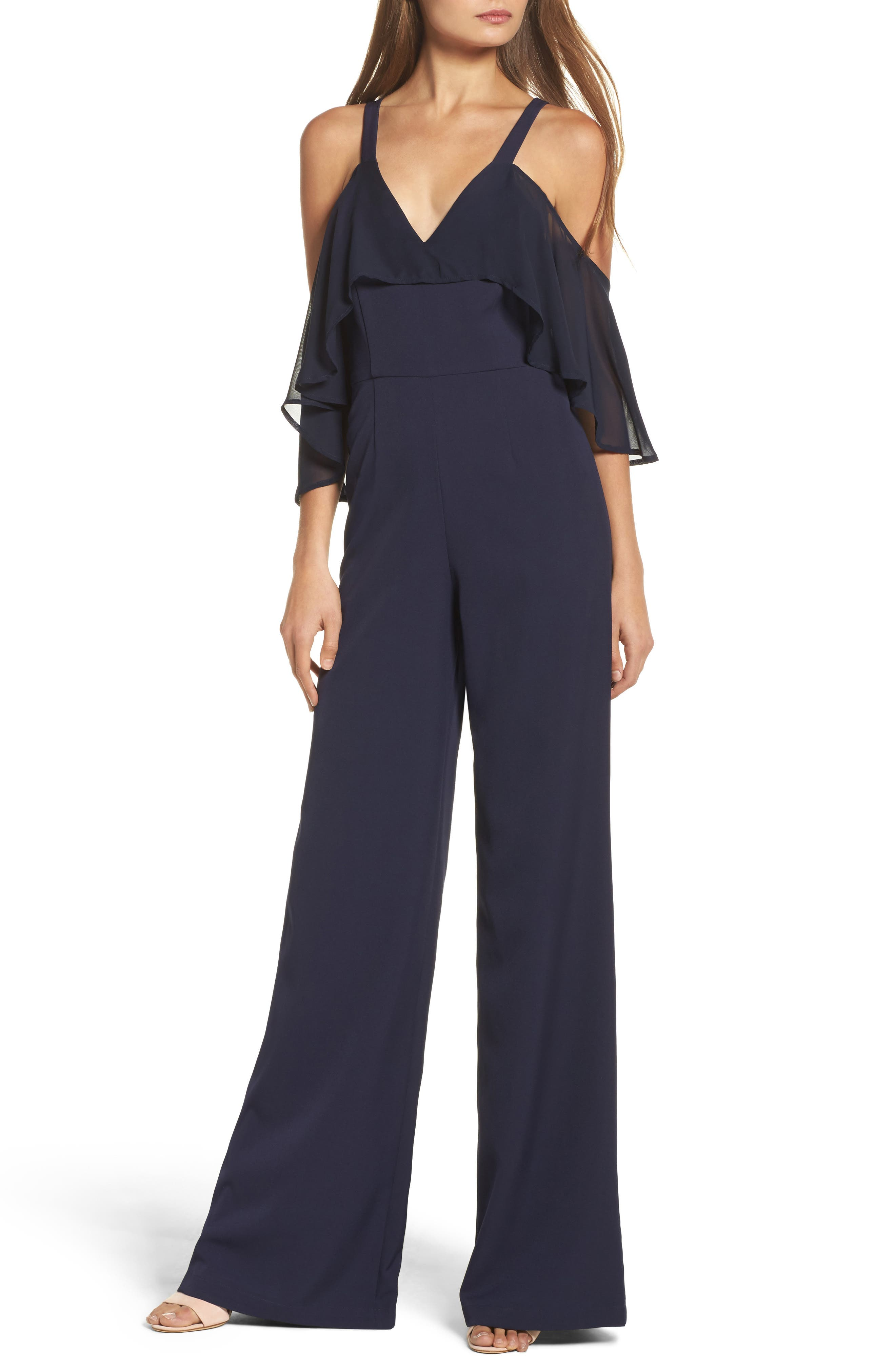 Oliver Cold Shoulder Ruffle Jumpsuit,                             Main thumbnail 1, color,                             Blue Nights