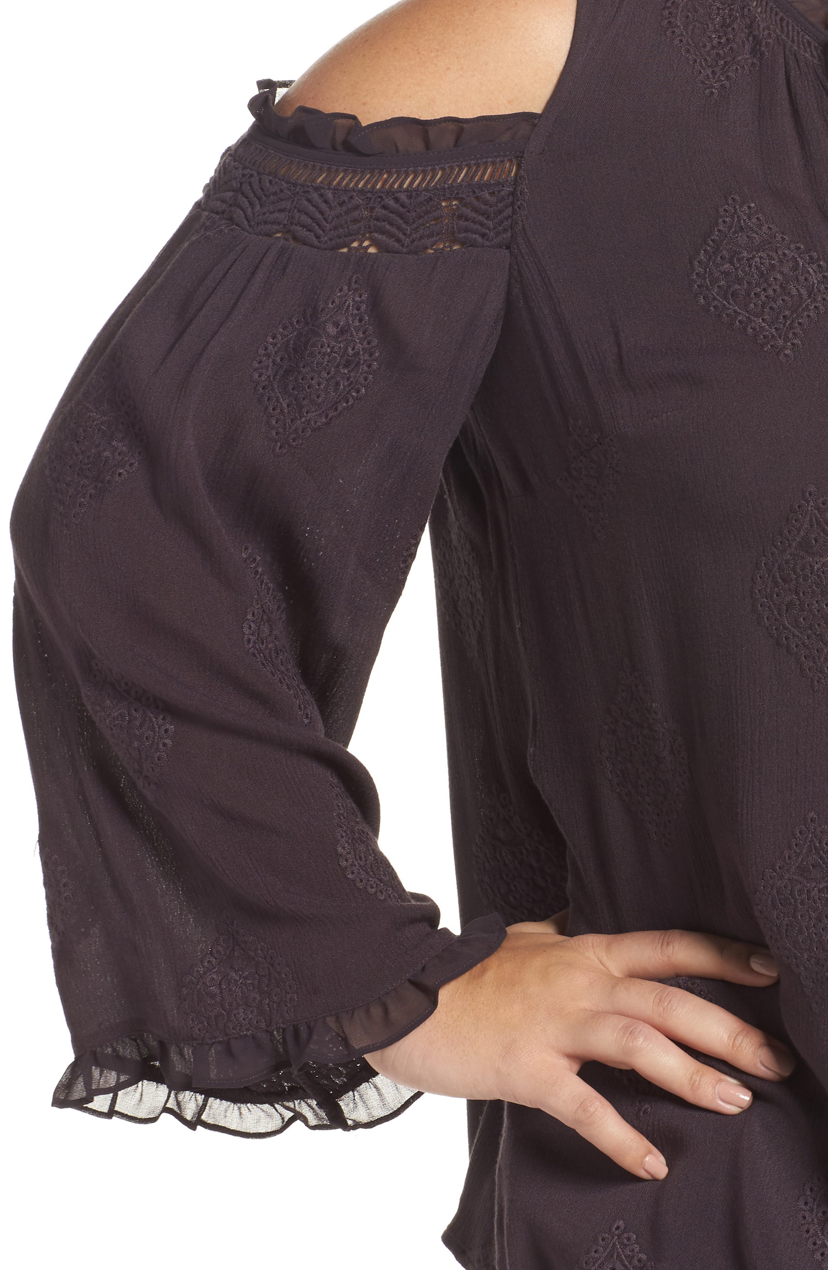 Embroidered Peasant Blouse,                             Alternate thumbnail 4, color,                             C453n Charcoal