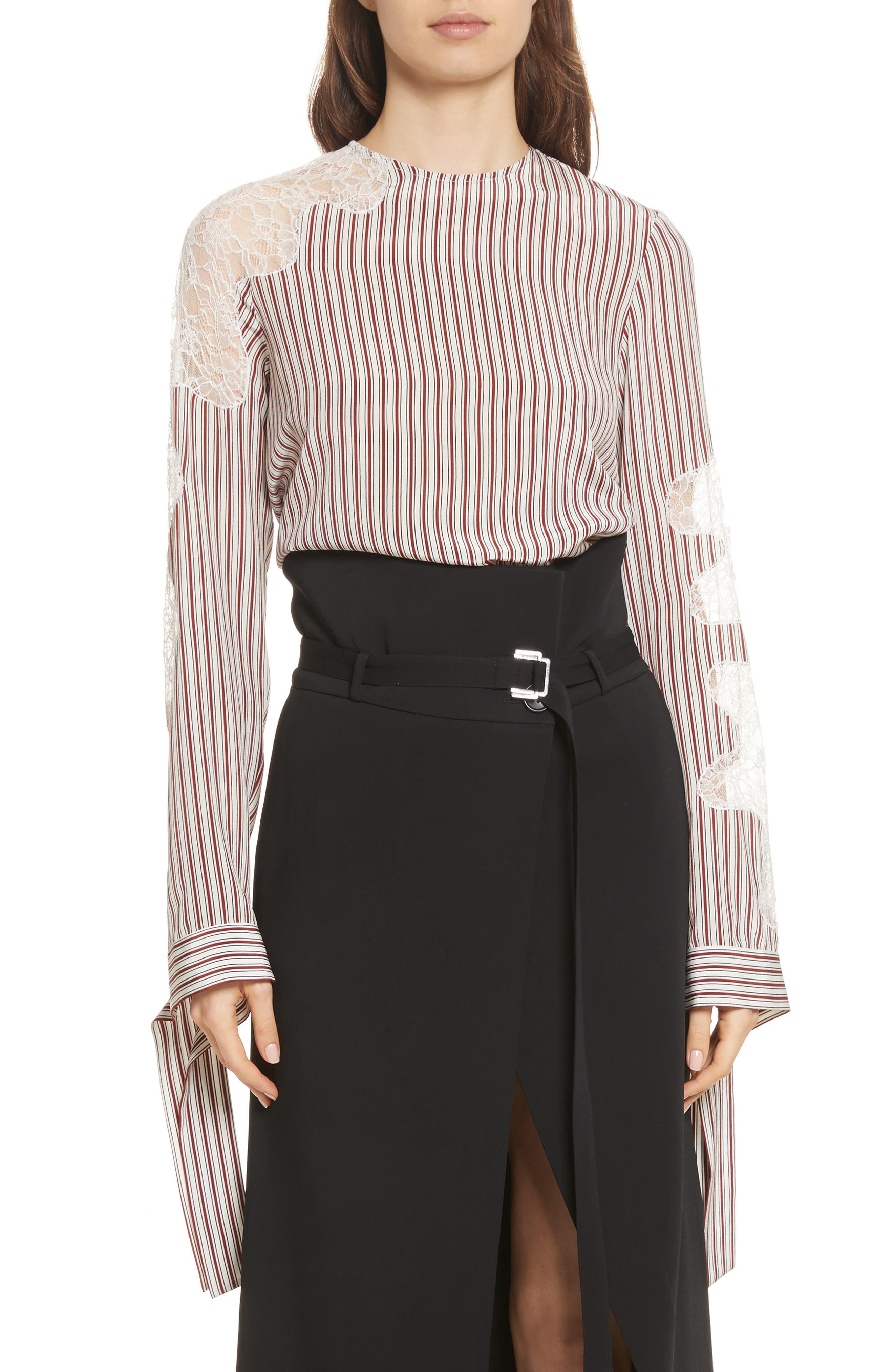 Lace Inset Stripe Blouse,                         Main,                         color, Crimson Barcode
