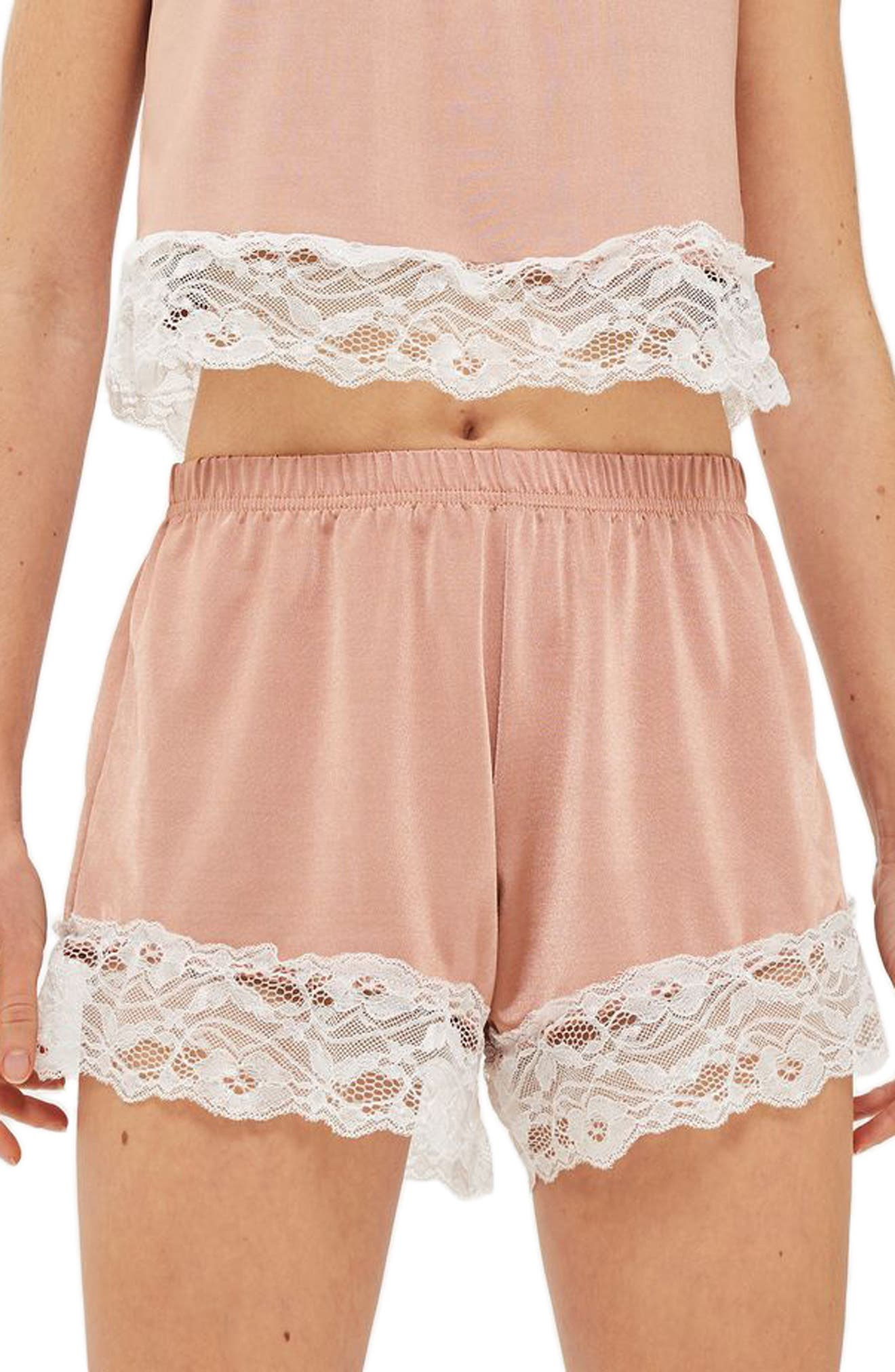 Satin & Lace Pajama Shorts,                             Main thumbnail 1, color,                             Nude