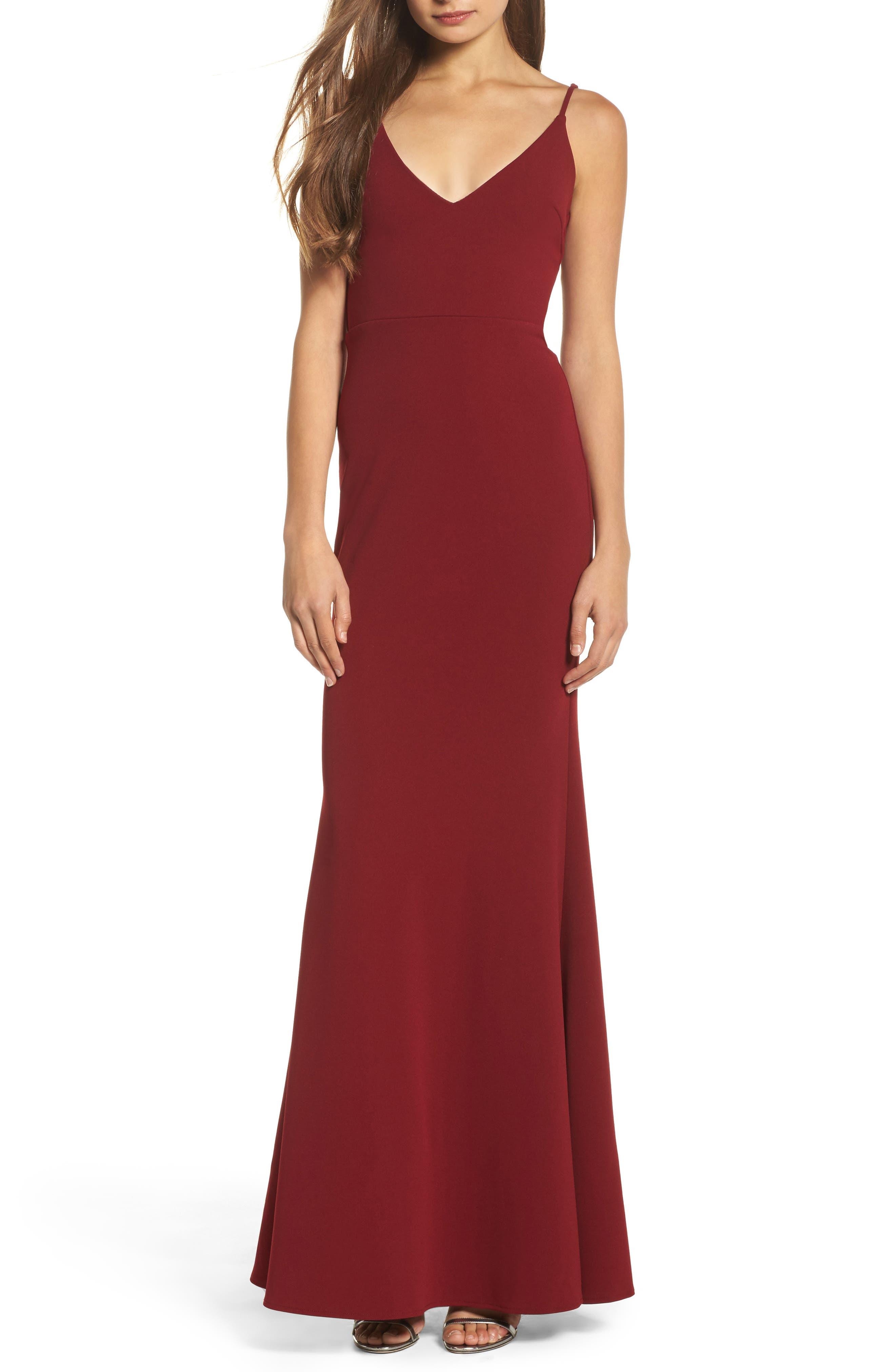 Burgundy's Trumpet Dress