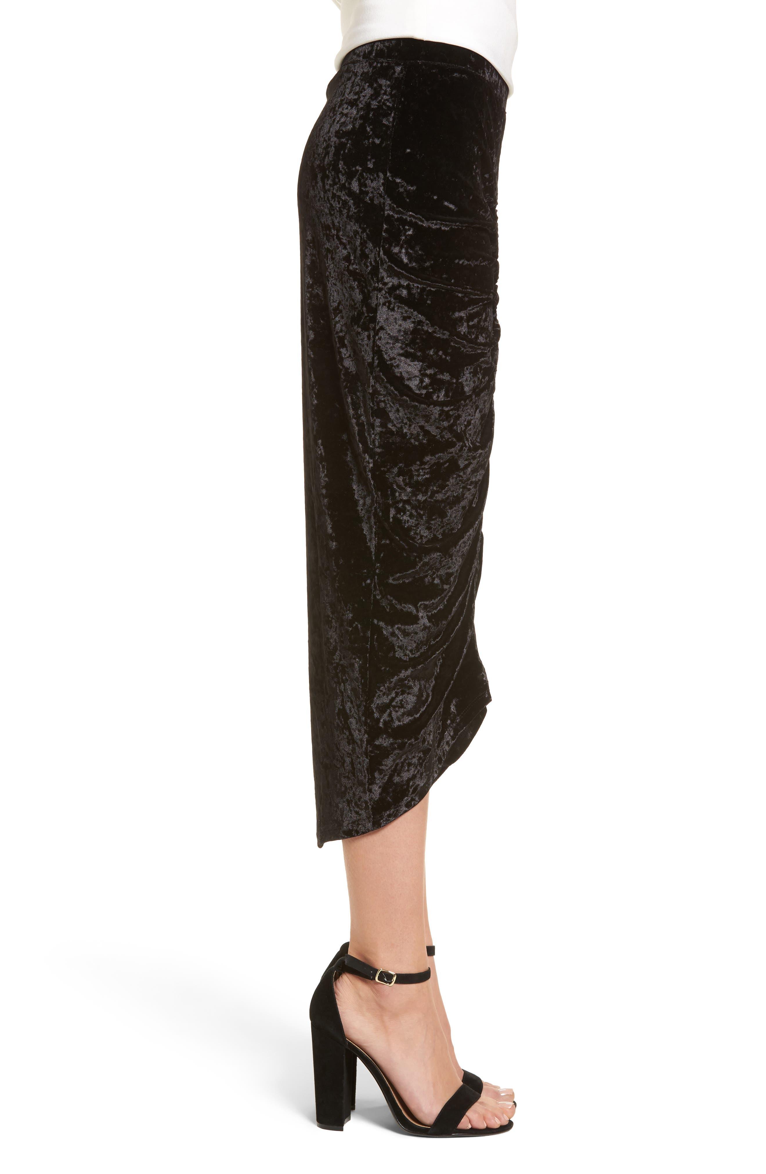 Velvet Midi Skirt,                             Alternate thumbnail 3, color,                             Black