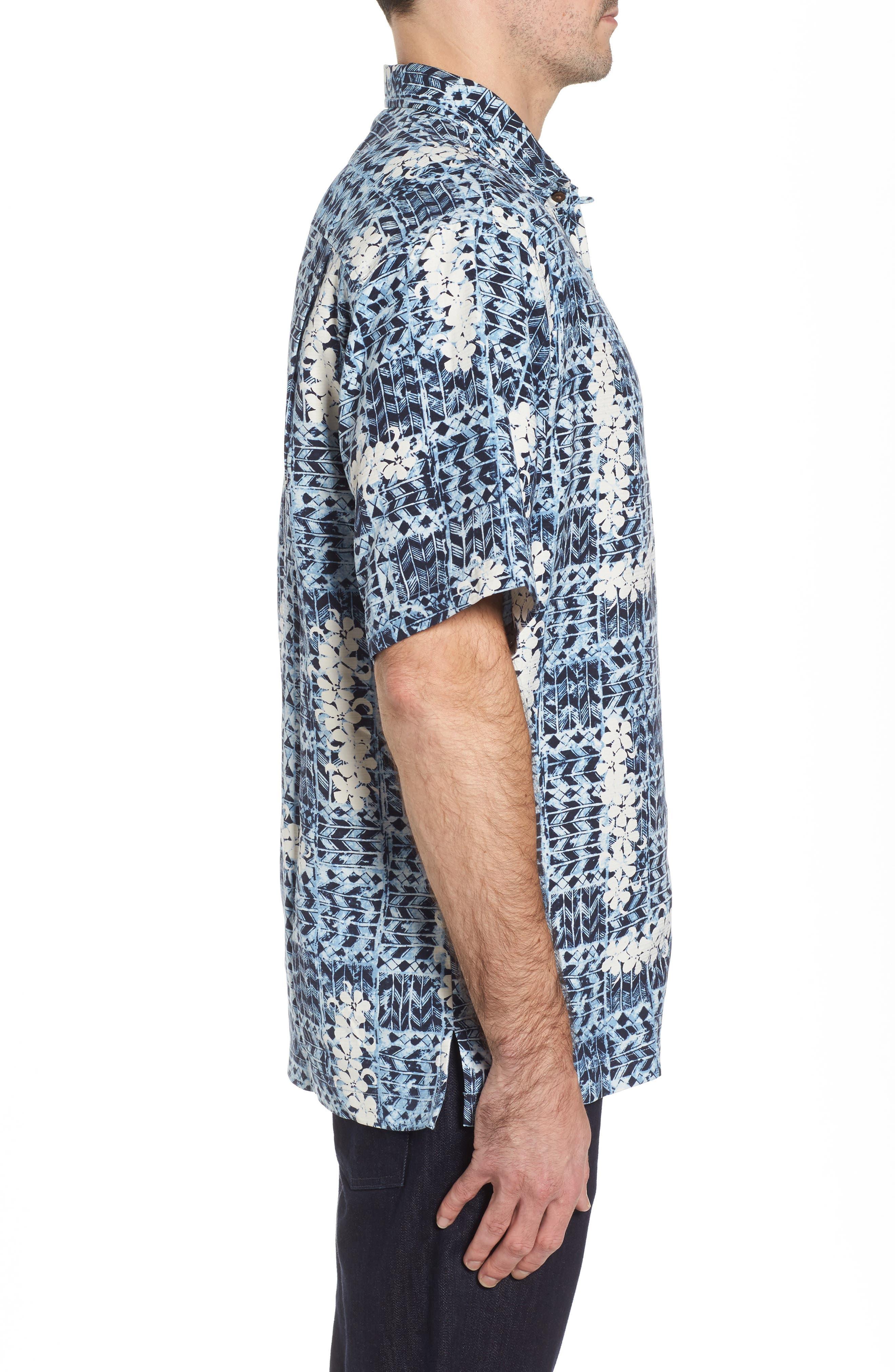 Olei Olei Silk Camp Shirt,                             Alternate thumbnail 3, color,                             Bering Blue