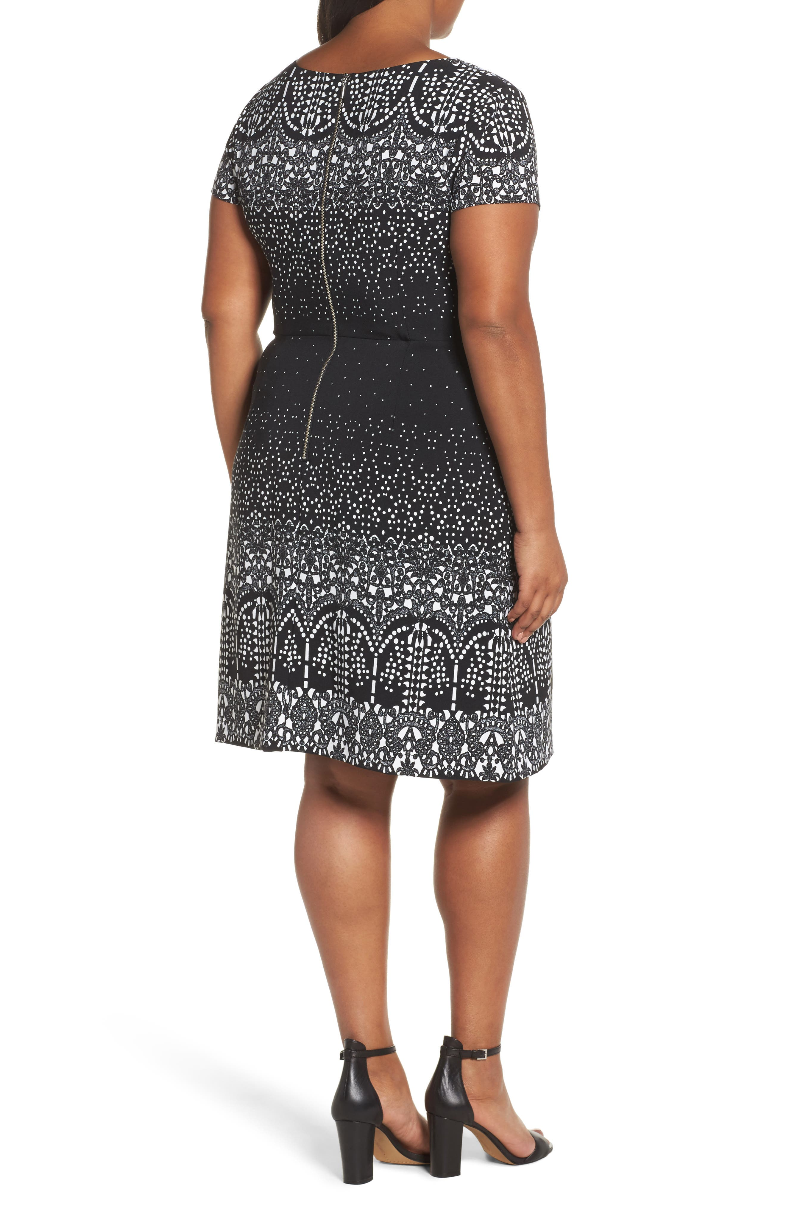 Lace Majesty Print A-Line Dress,                             Alternate thumbnail 2, color,                             Black Multi