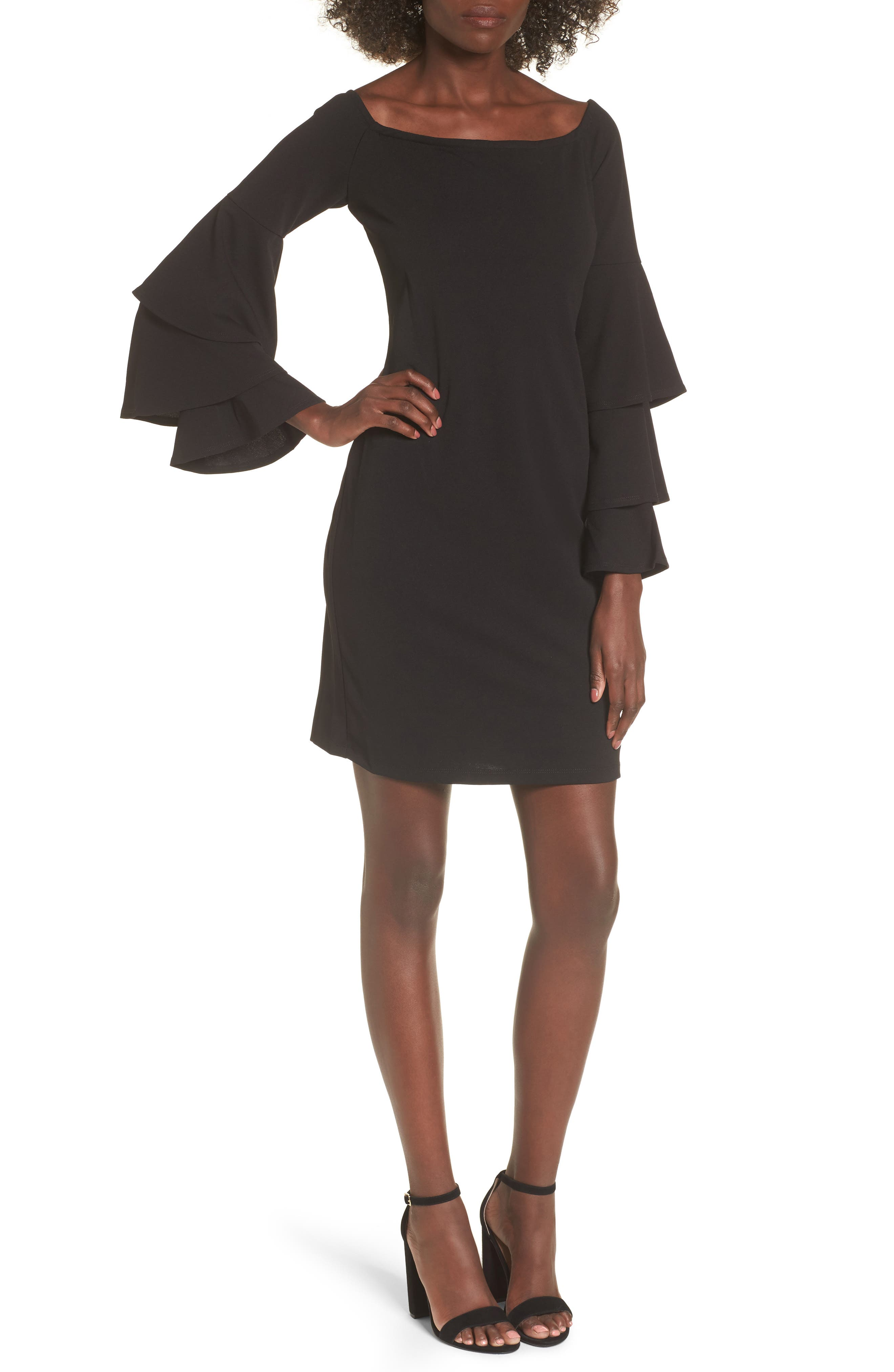 Ruffle Sleeve Off the Shoulder Dress,                         Main,                         color, Black