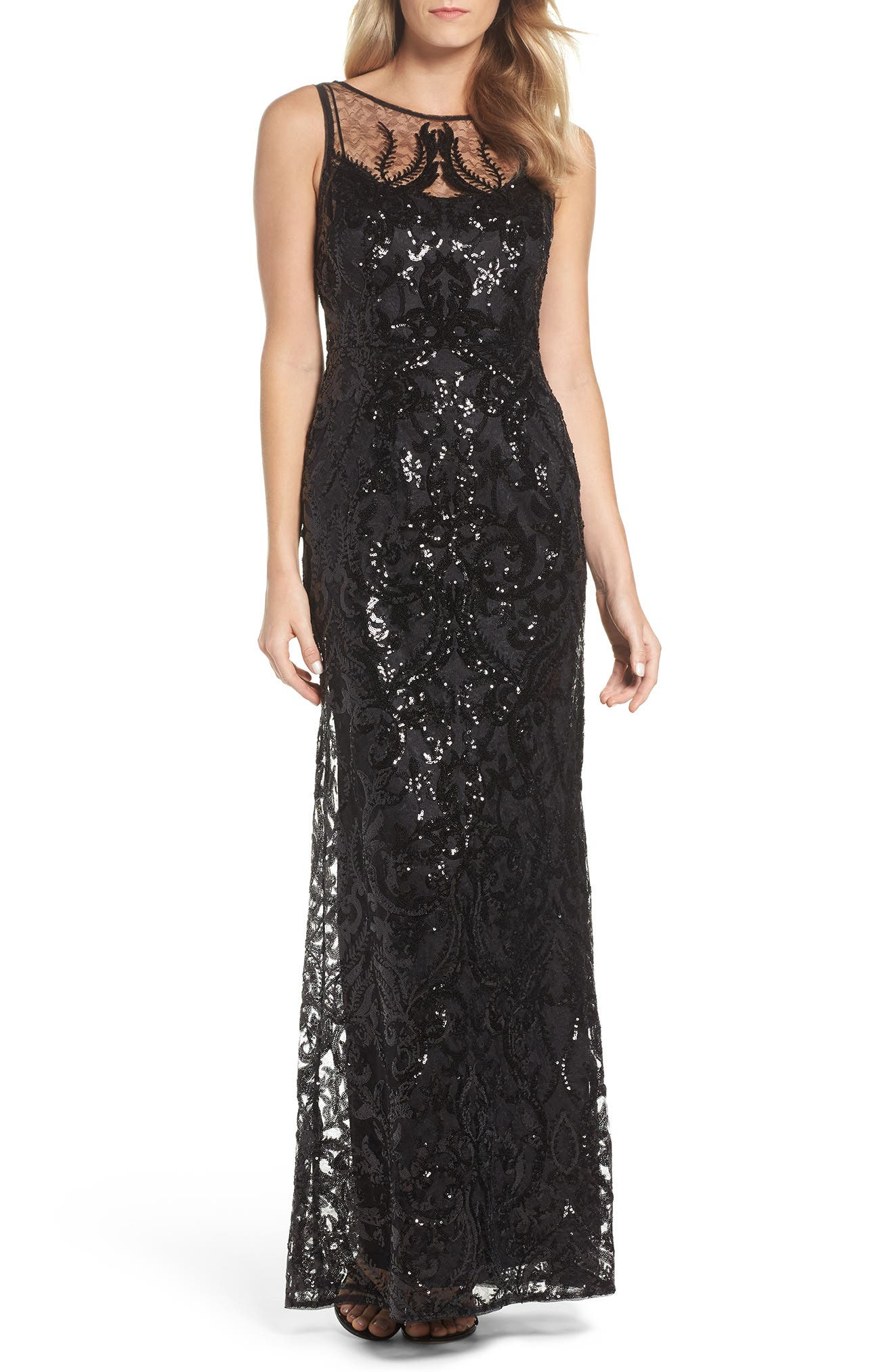 Sequin Embellished Chiffon Gown,                         Main,                         color, Black