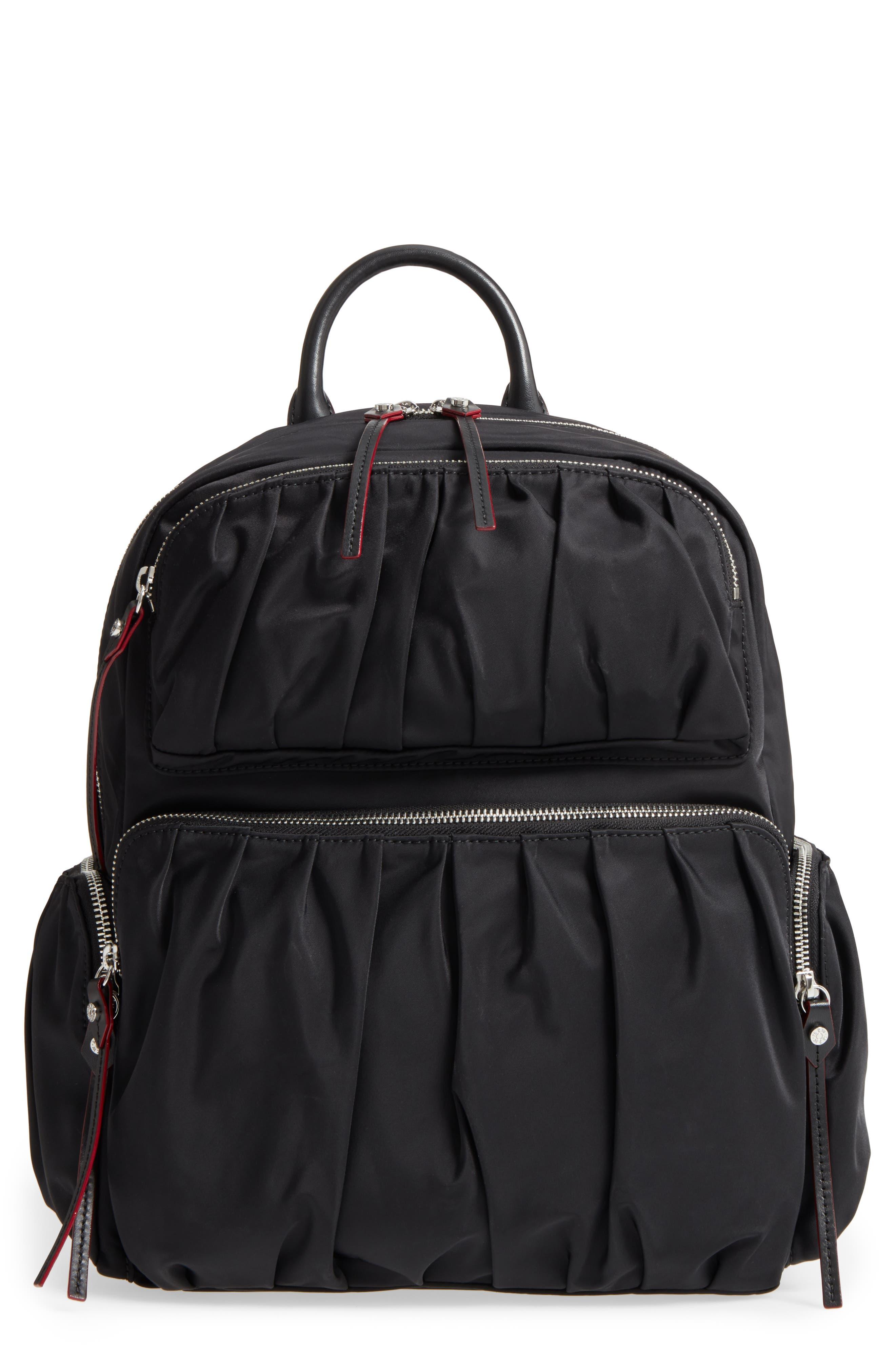 Madelyn Bedford Nylon Backpack,                             Main thumbnail 1, color,                             Black