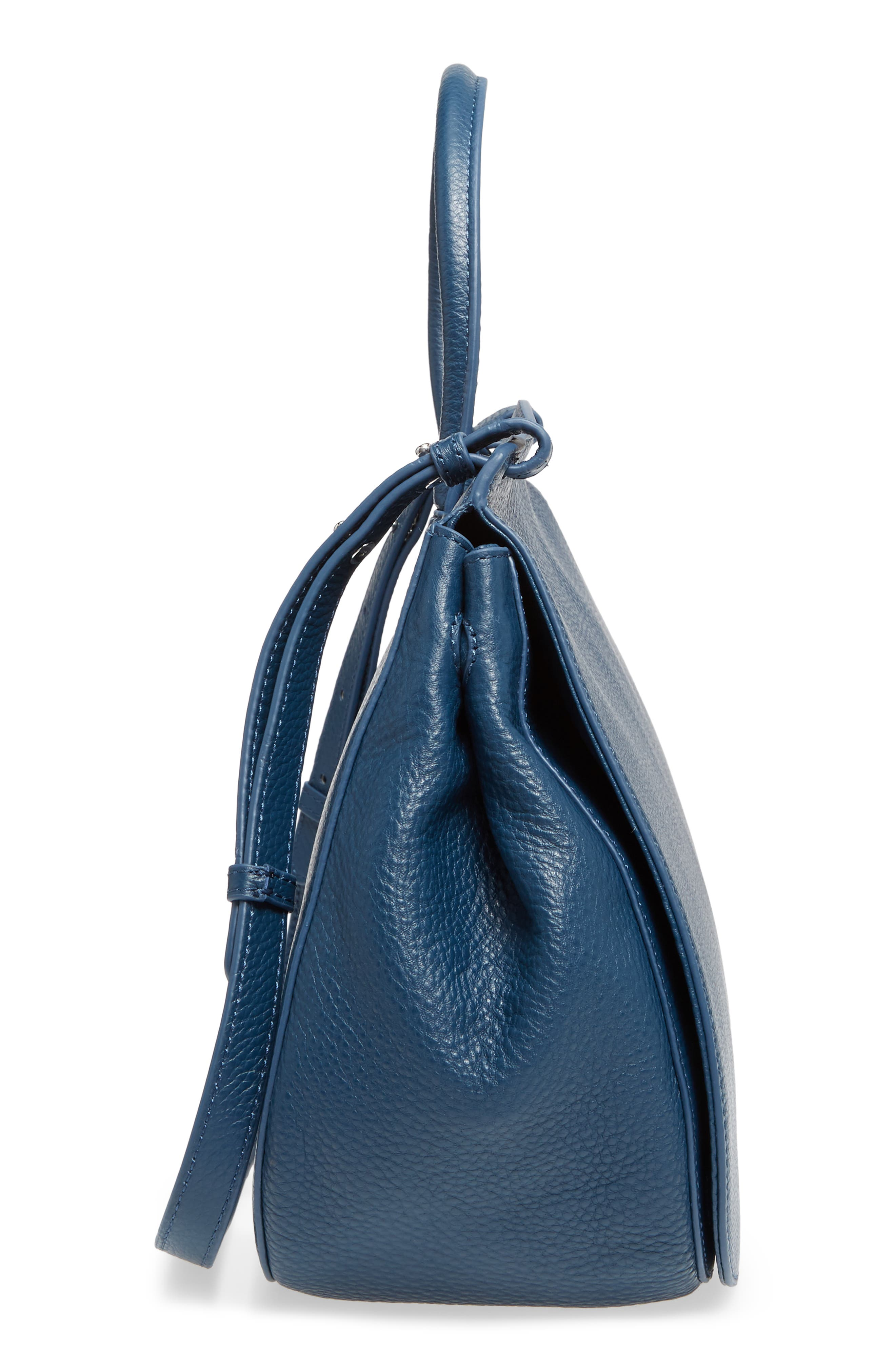 Kate Calfskin Leather Top Handle Satchel,                             Alternate thumbnail 5, color,                             Navy
