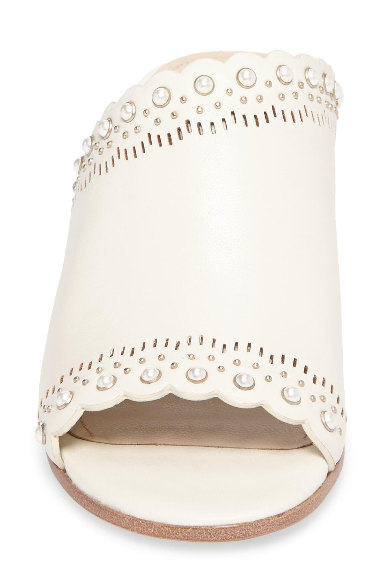 Amela Embellished Slide Sandal,                             Alternate thumbnail 4, color,                             Bone Leather