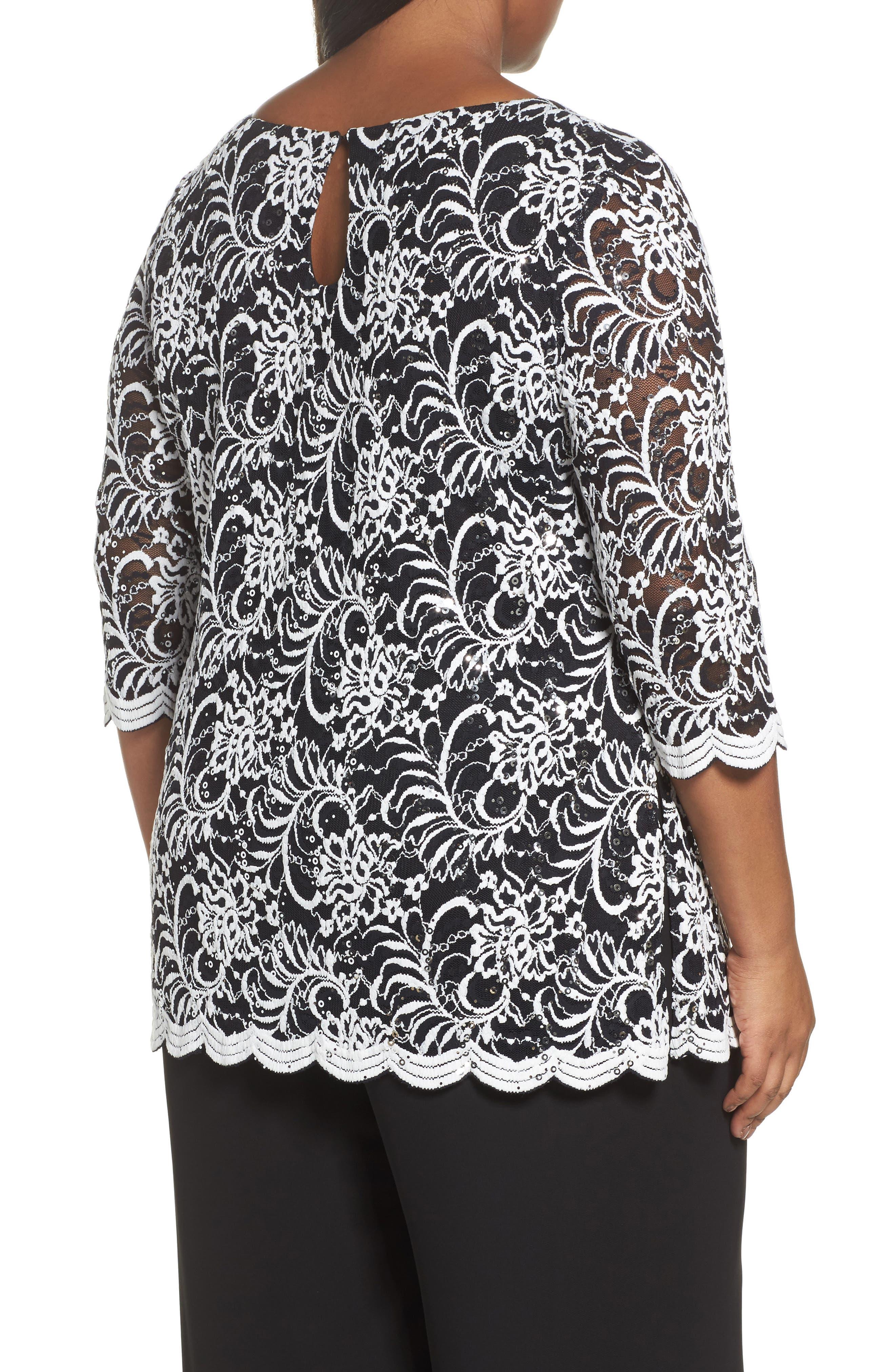 Embroidered Tulle Blouse,                             Alternate thumbnail 2, color,                             Black/ White