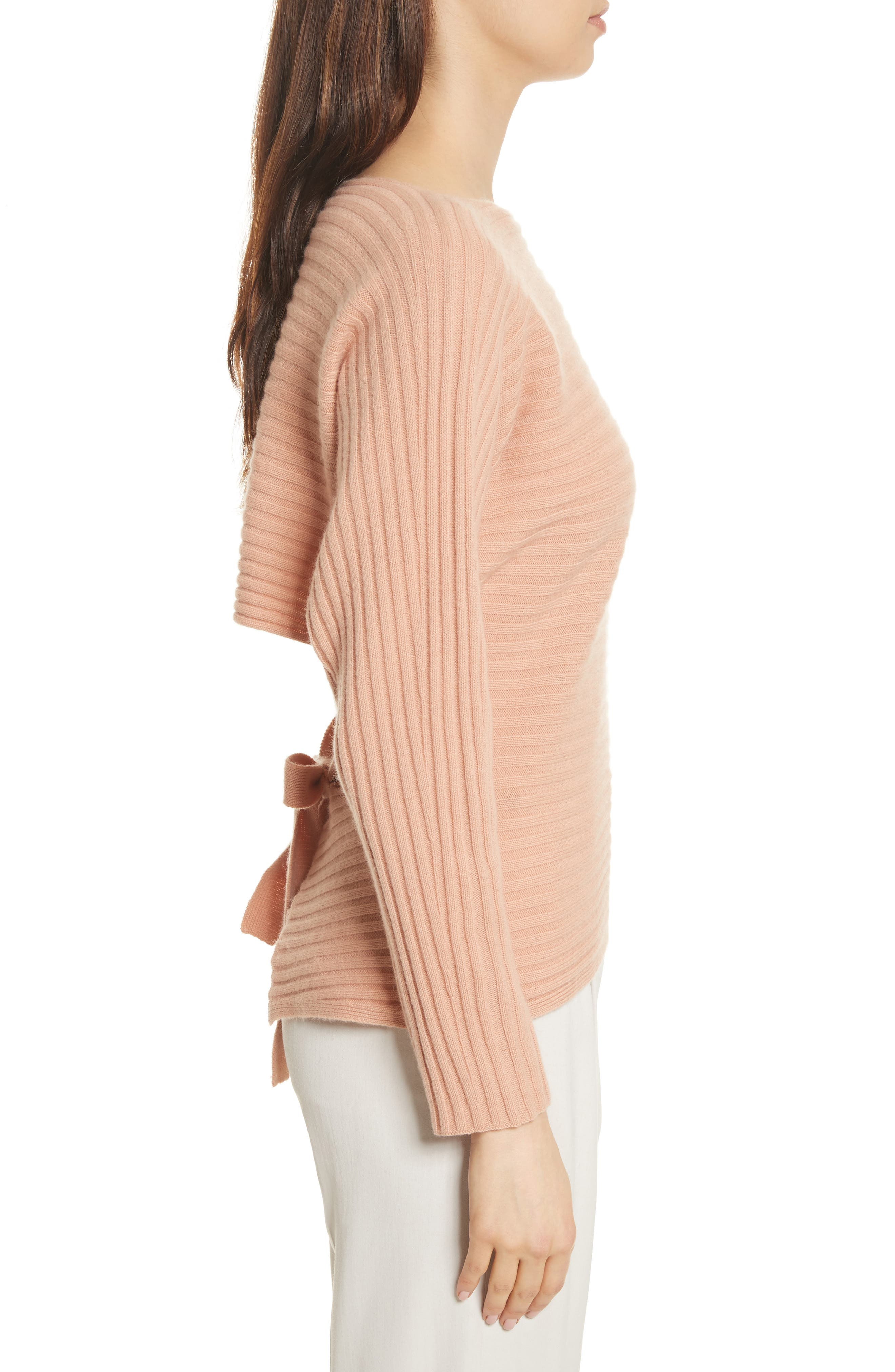 Tie Back Wool & Cashmere Sweater,                             Alternate thumbnail 3, color,                             Blush