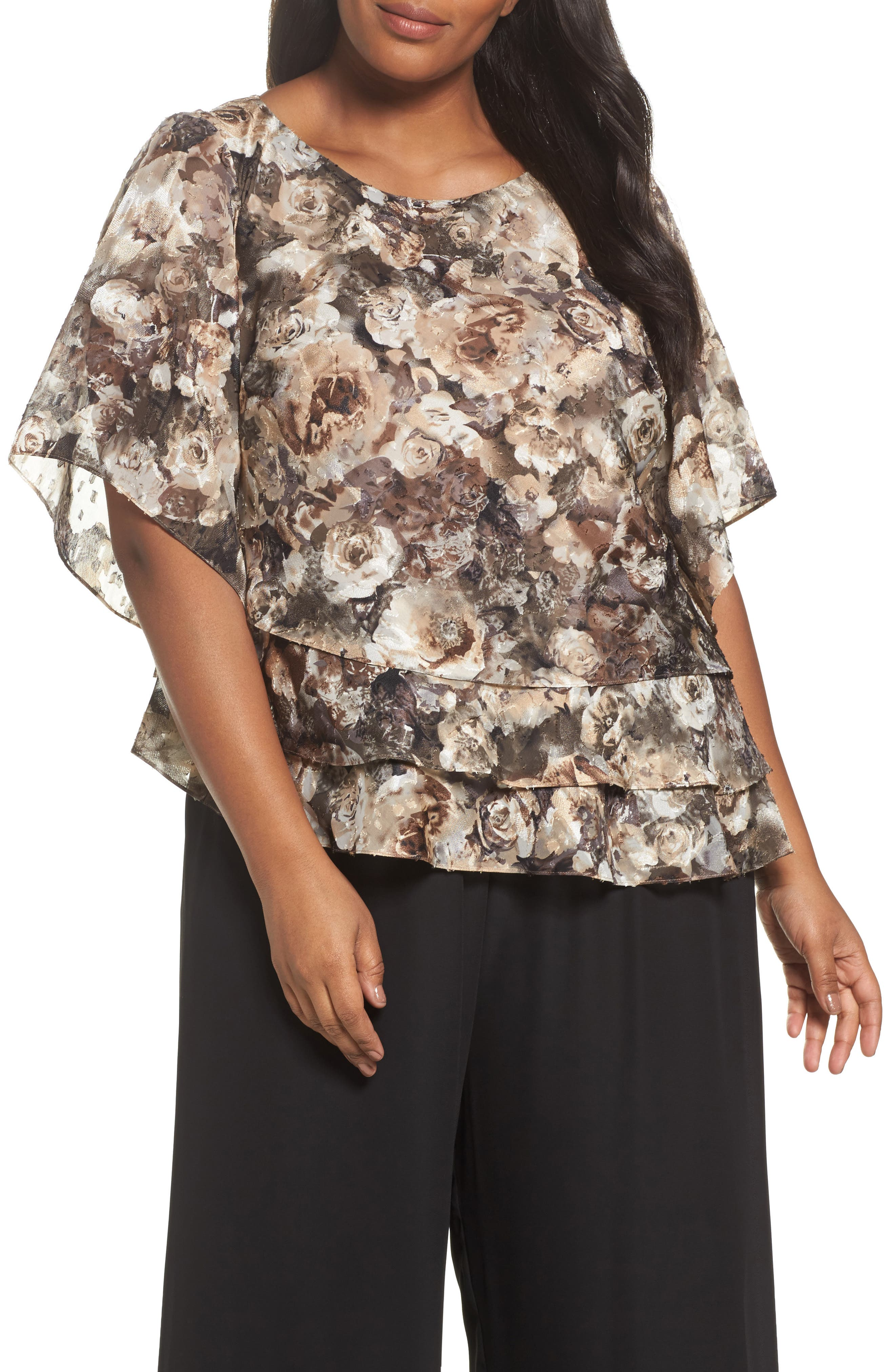 Tiered Chiffon Top,                         Main,                         color, Taupe Multi