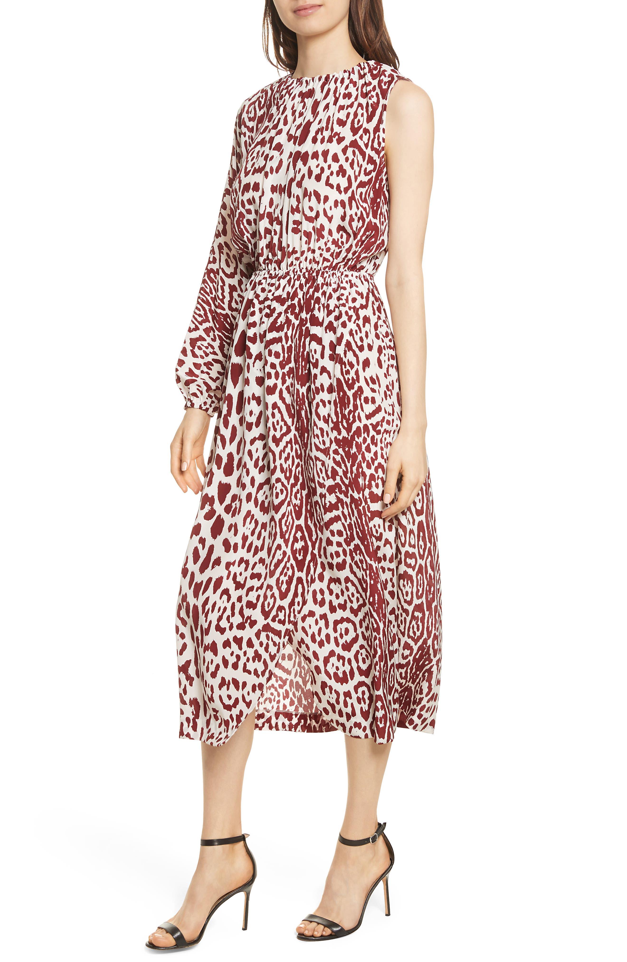 Leopard Print Silk Midi Dress,                             Alternate thumbnail 4, color,                             Crimson Leopard