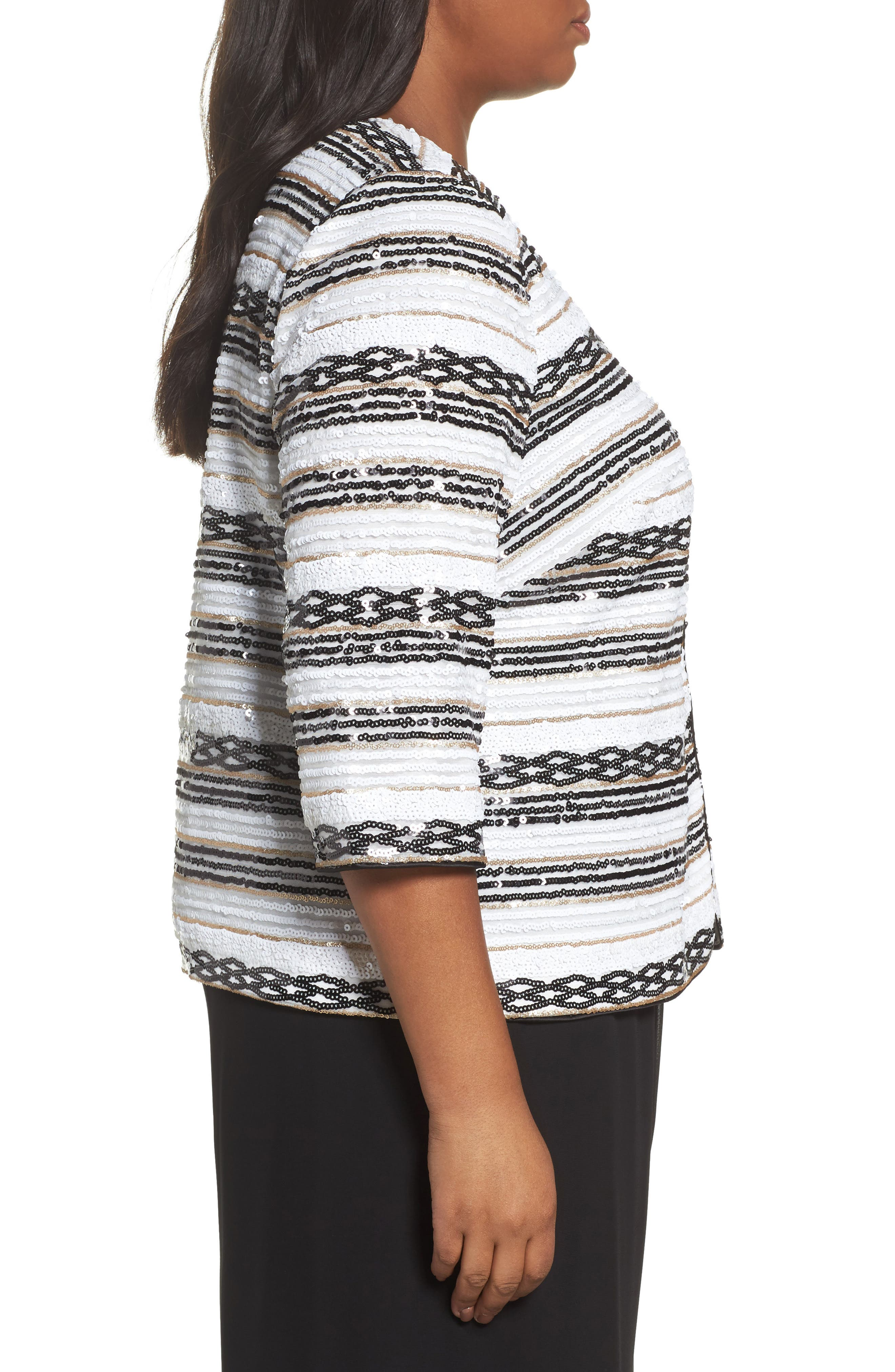 Sequin Stripe Jacket,                             Alternate thumbnail 3, color,                             White/ Black