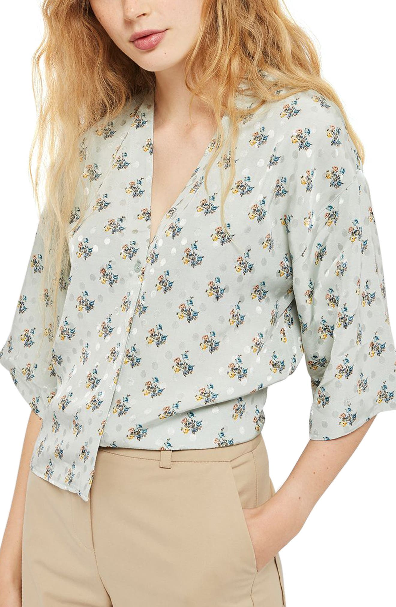 Tilly Tie Sleeve Blouse,                             Main thumbnail 1, color,                             Light Green Multi