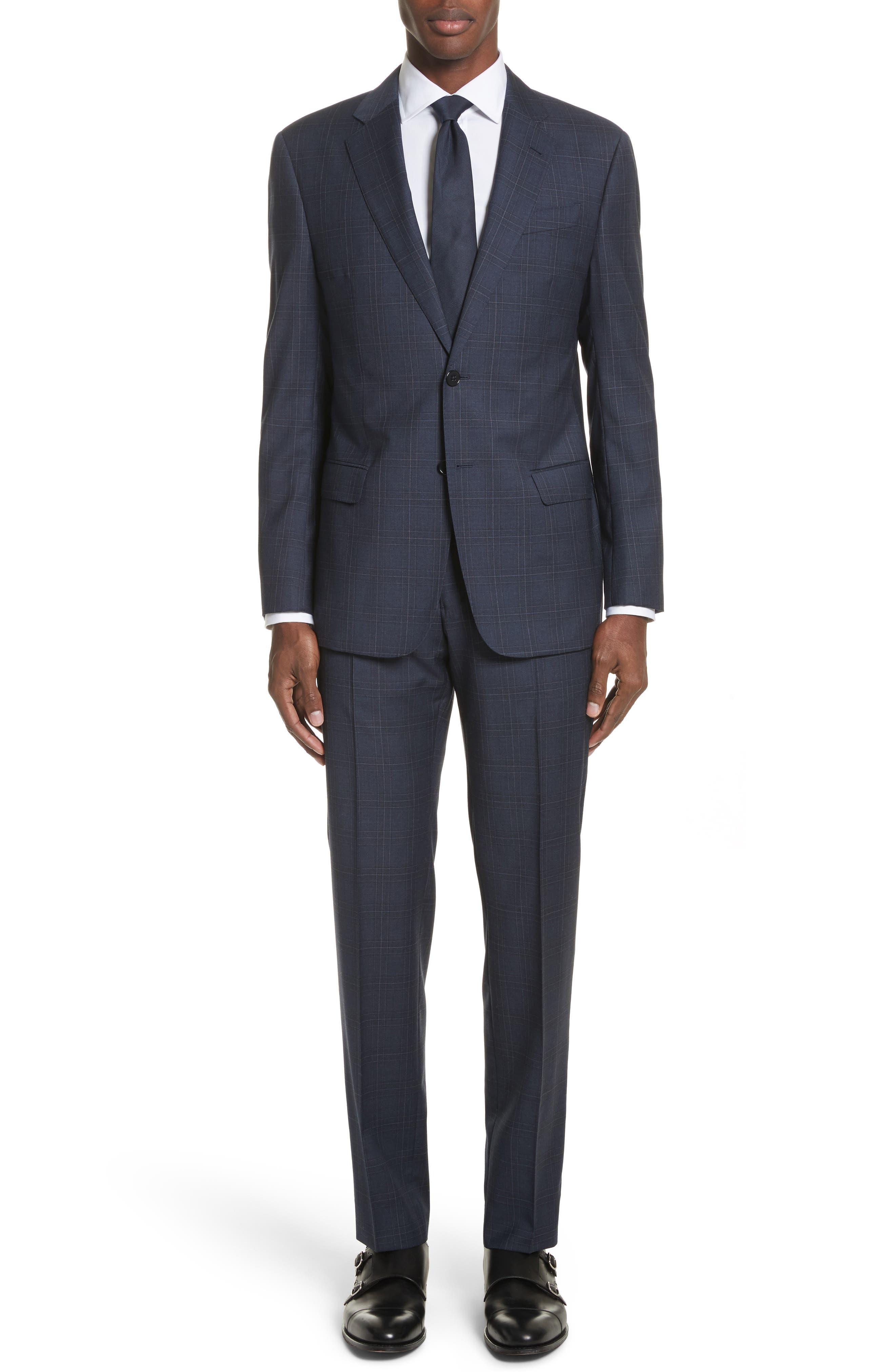 G Line Trim Fit Plaid Wool Suit,                             Main thumbnail 1, color,                             Navy