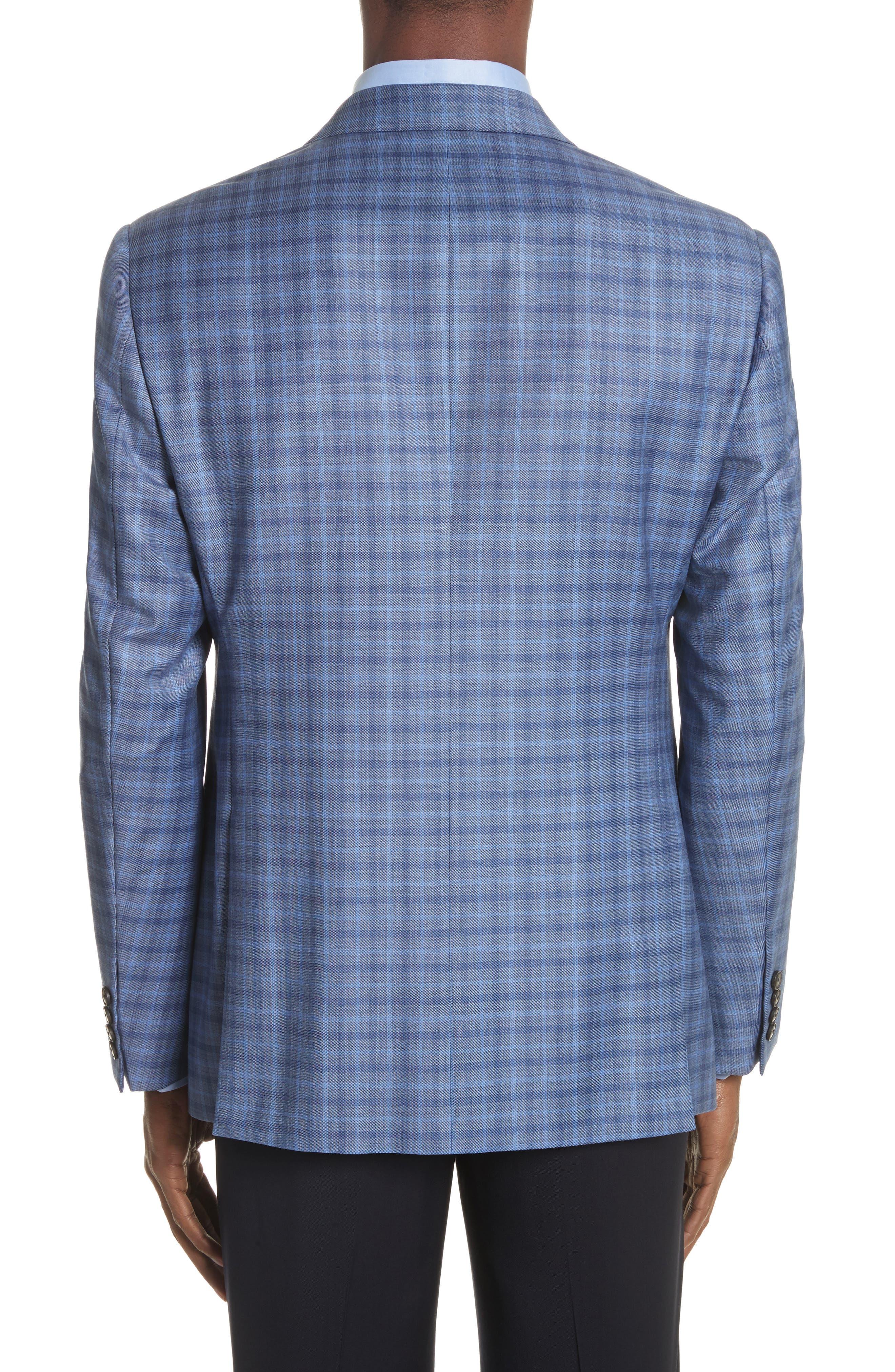 G Line Trim Fit Plaid Wool Sport Coat,                             Alternate thumbnail 2, color,                             Navy