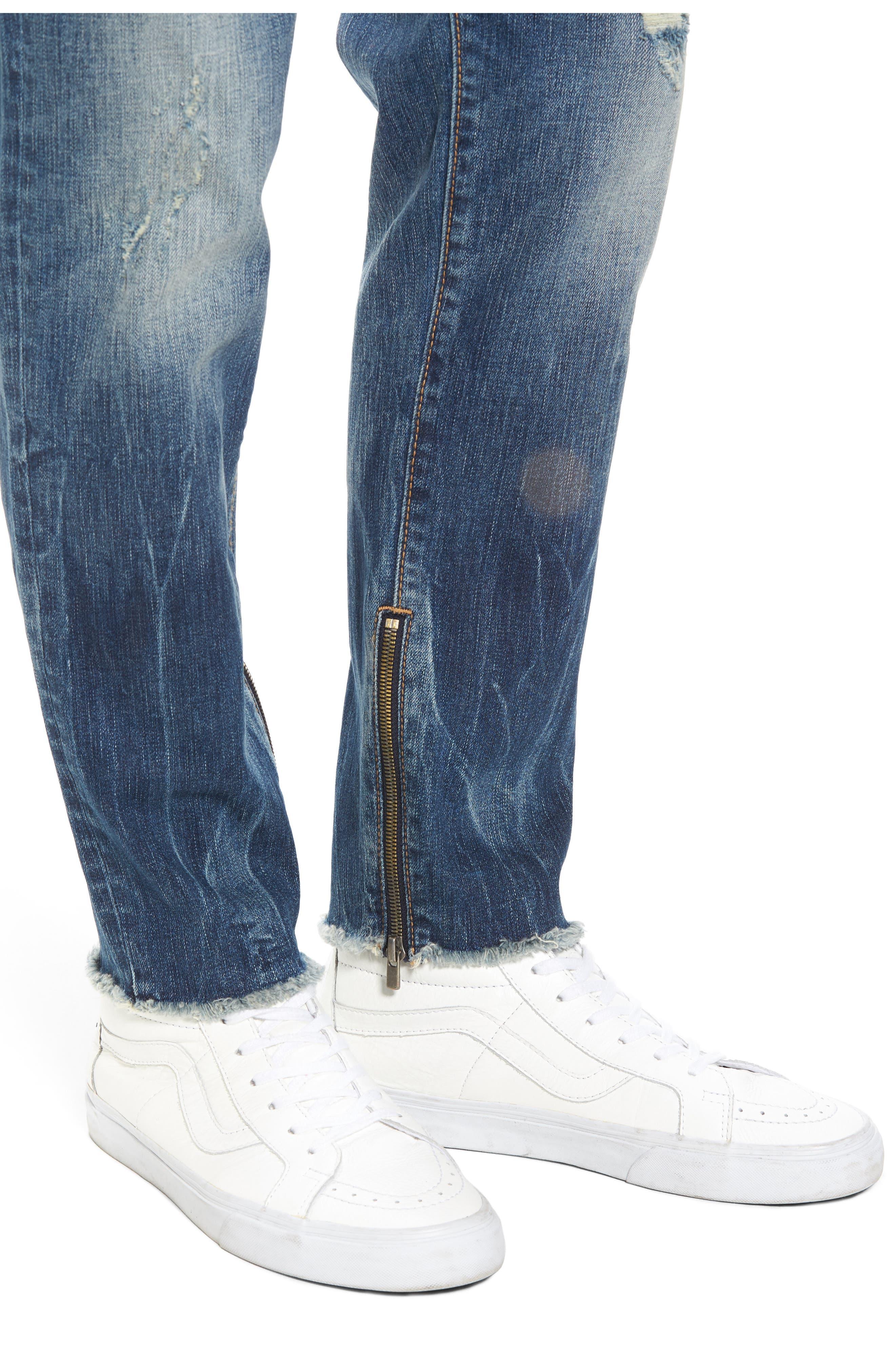 Finn Frayed Skinny Fit Jeans,                             Alternate thumbnail 4, color,                             Envy