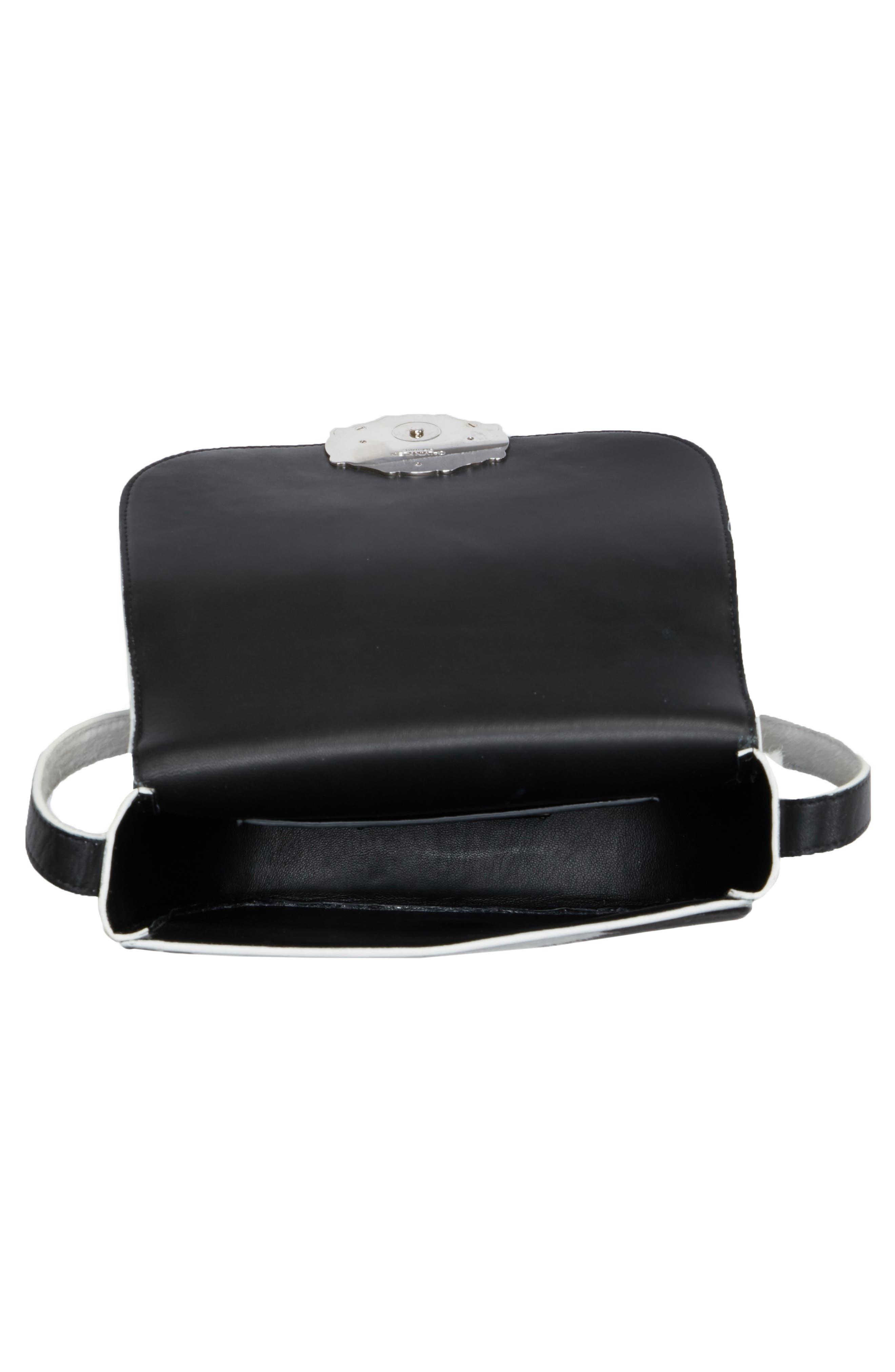 Genuine Calf Hair Shoulder Bag,                             Alternate thumbnail 4, color,                             White/ Black