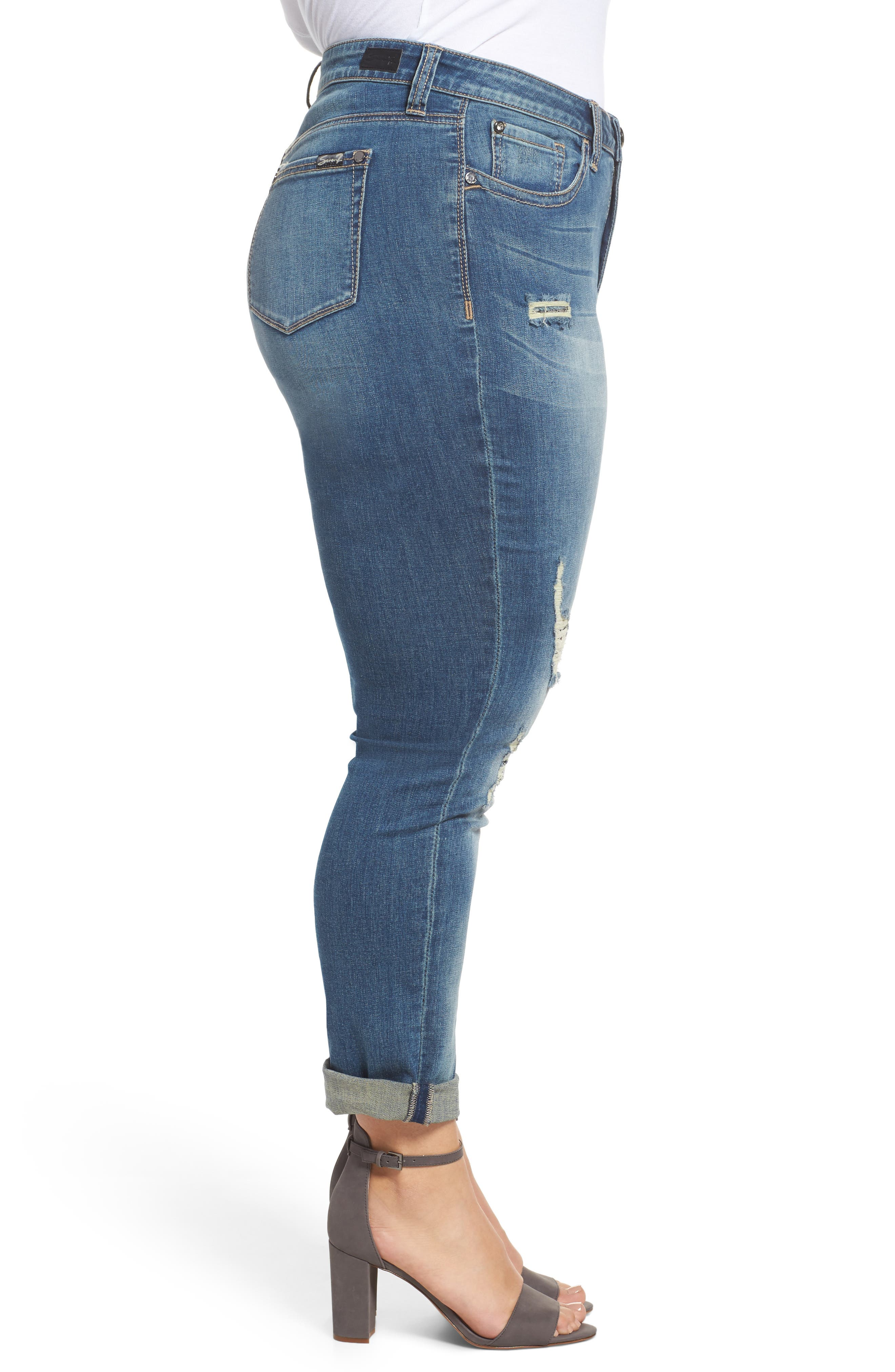Alternate Image 3  - Seven7 Ripped & Embellished Skinny Jeans (Banks) (Plus Size)