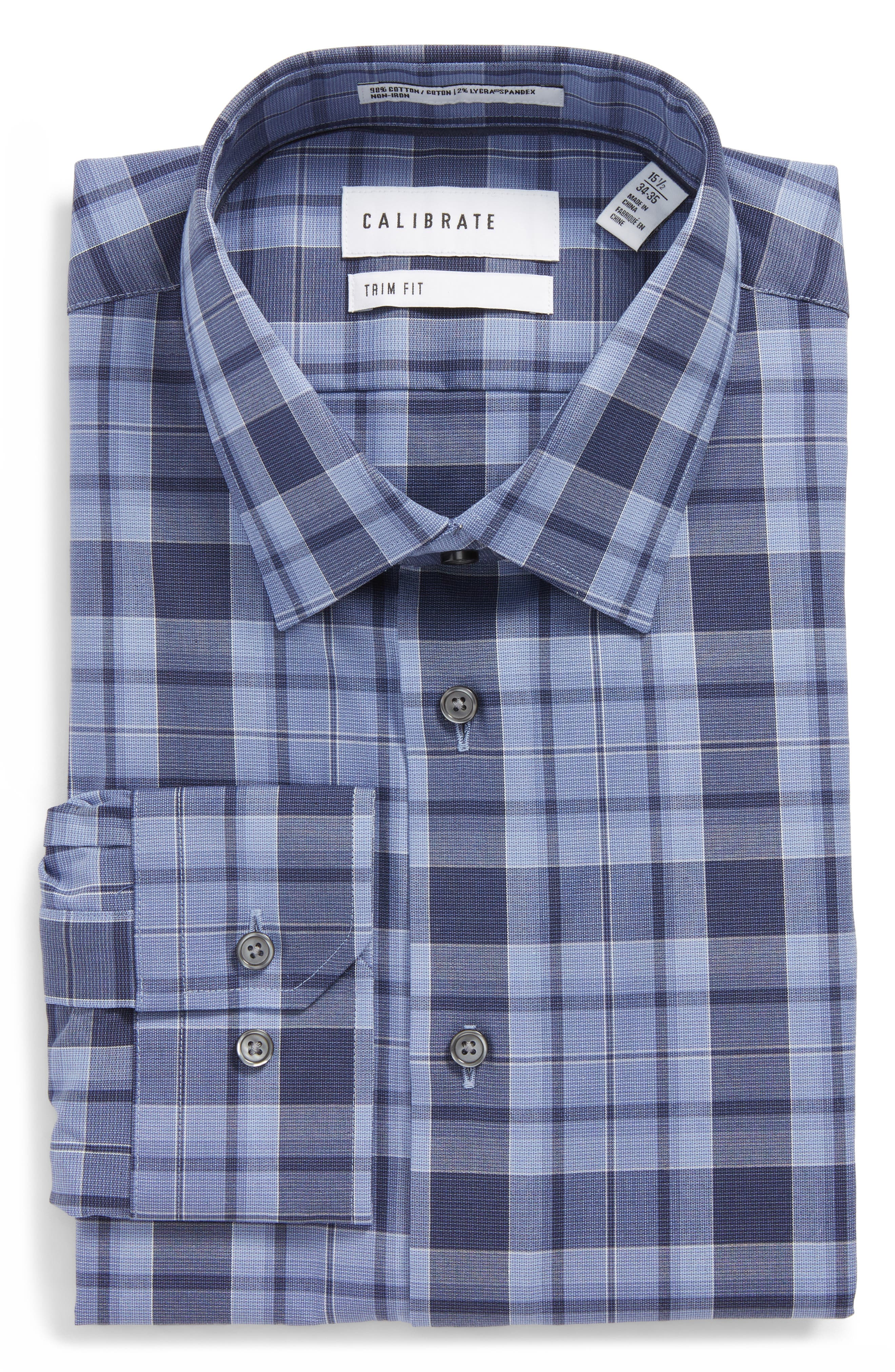 Trim Fit Stretch No-Iron Check Dress Shirt,                             Main thumbnail 1, color,                             Blue Coronet