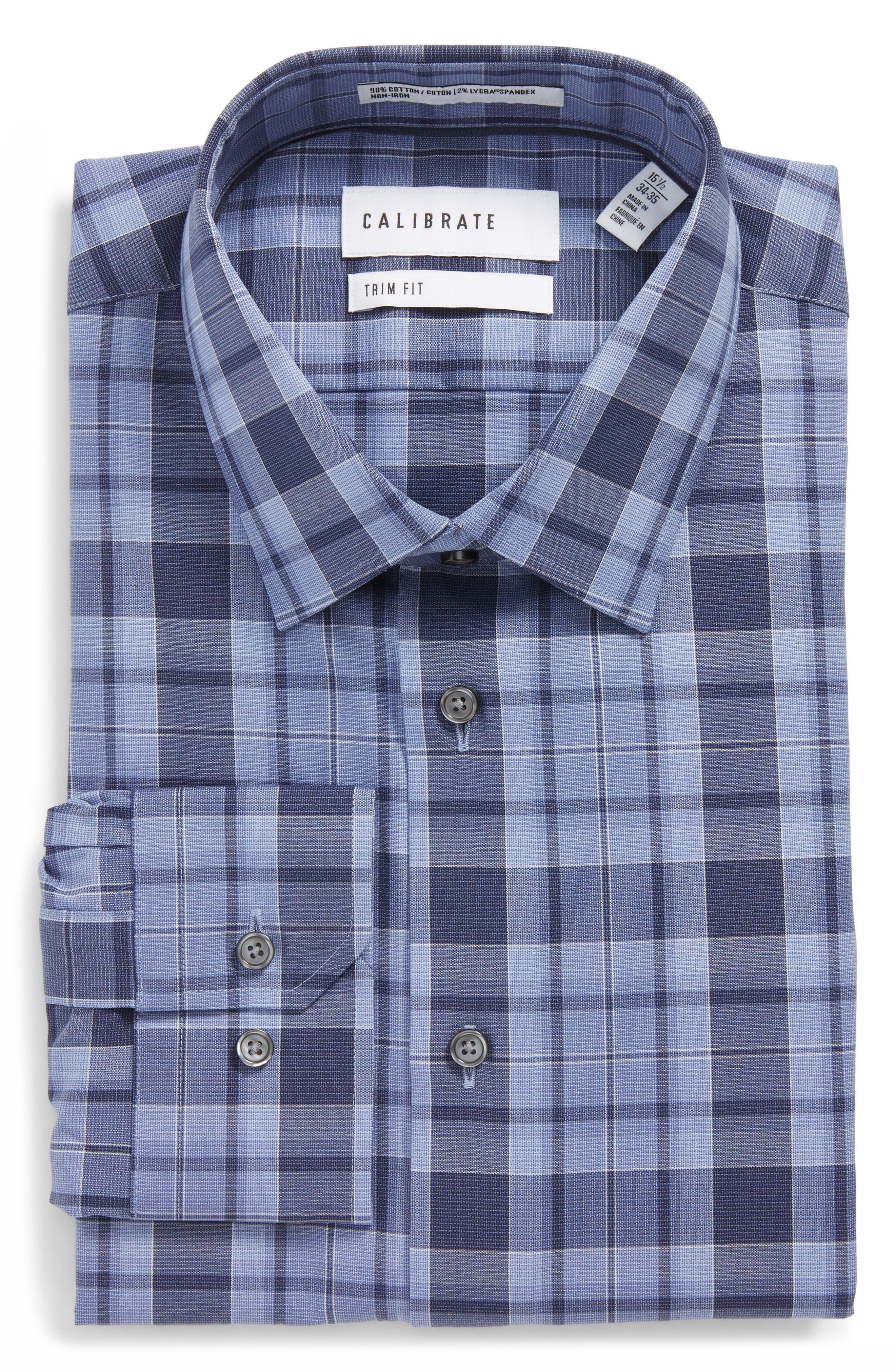 Trim Fit Stretch No-Iron Check Dress Shirt,                         Main,                         color, Blue Coronet