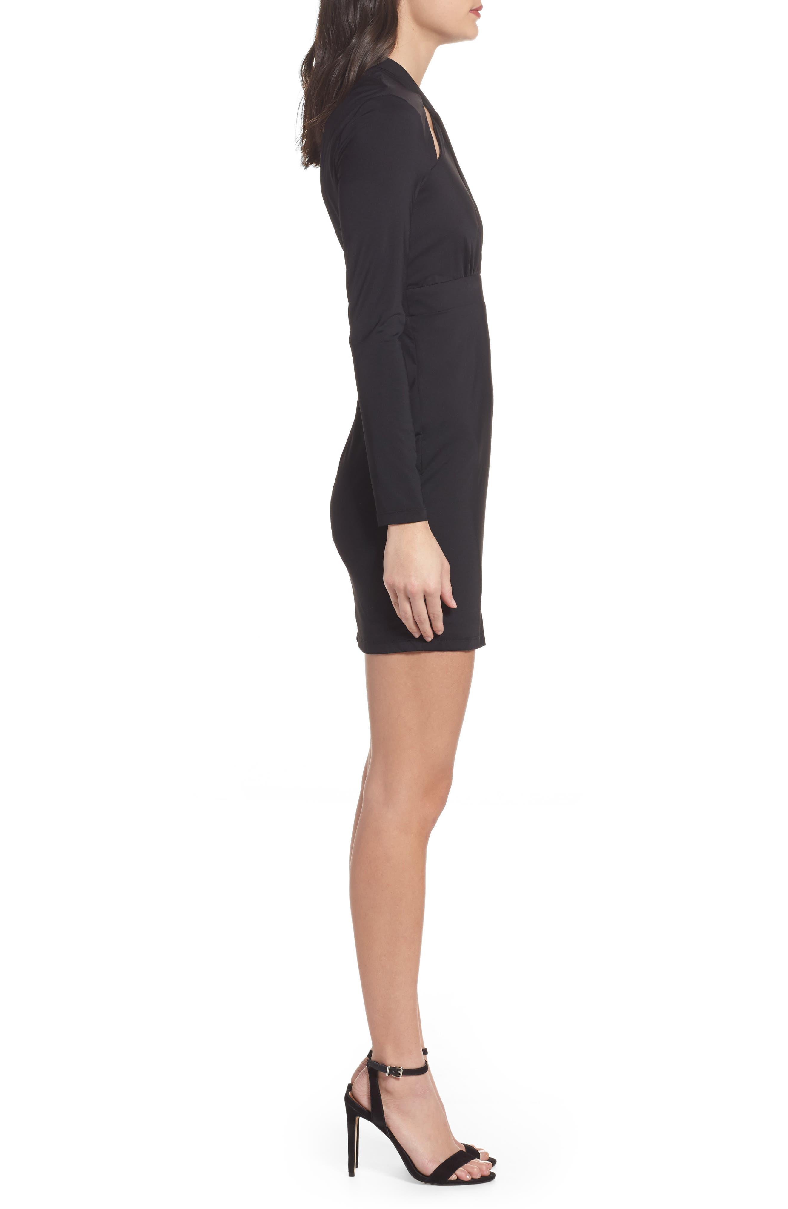 Cutout Body-Con Minidress,                             Alternate thumbnail 3, color,                             Black